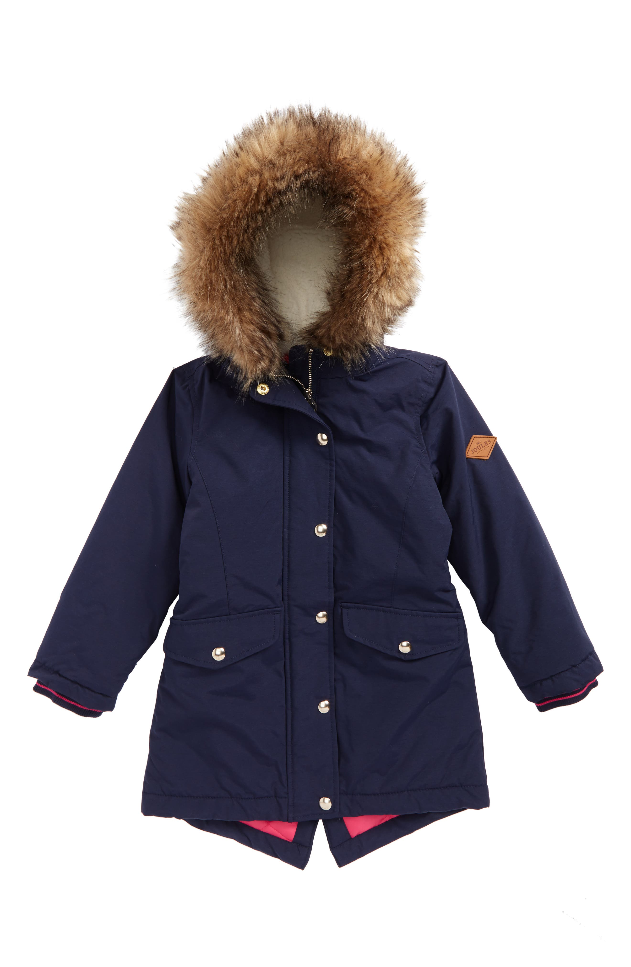 Faux Fur Trim Fleece Lined Parka,                         Main,                         color, French Navy