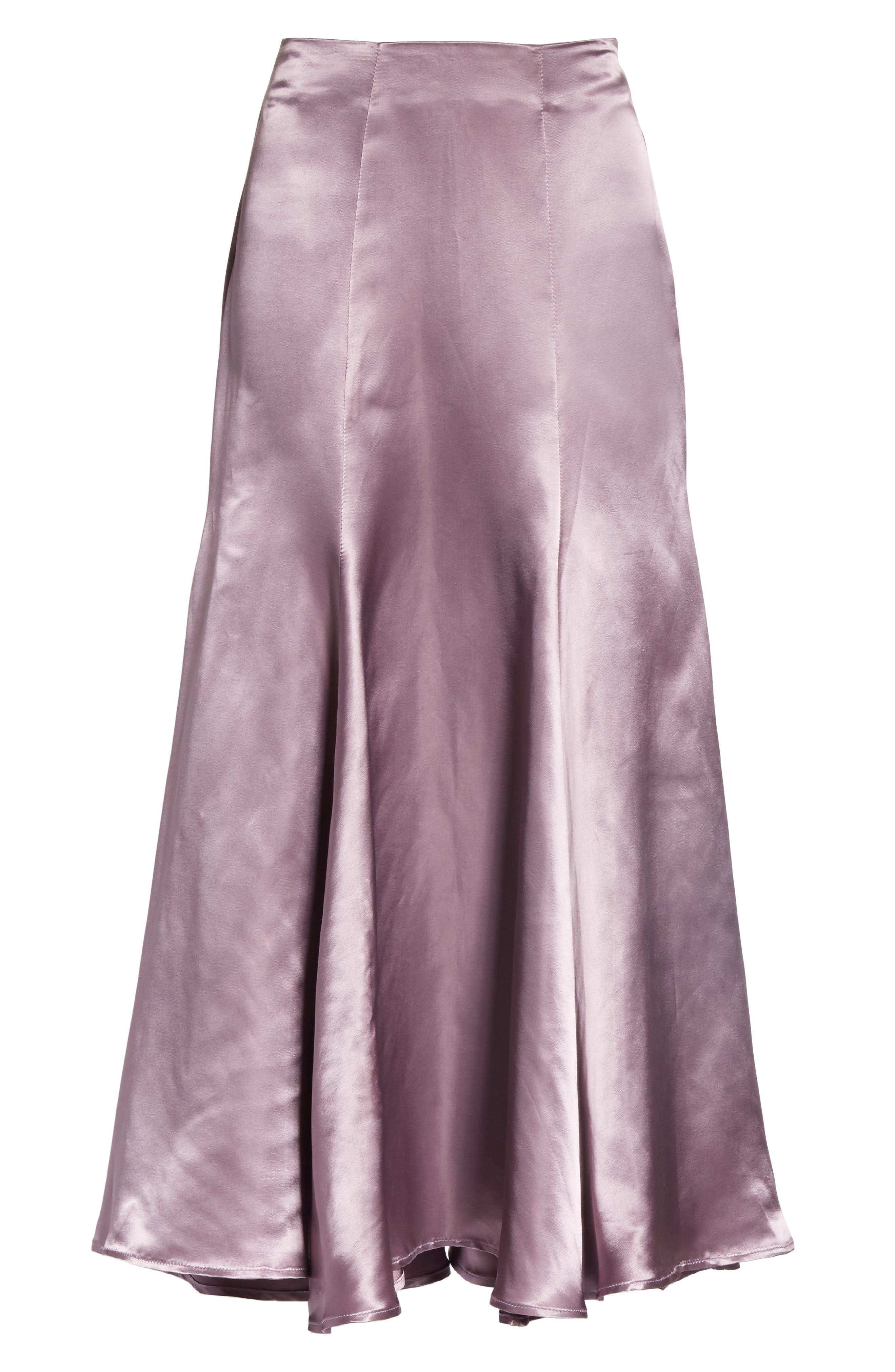 Cassini Satin Slip Skirt,                             Alternate thumbnail 6, color,                             Violet