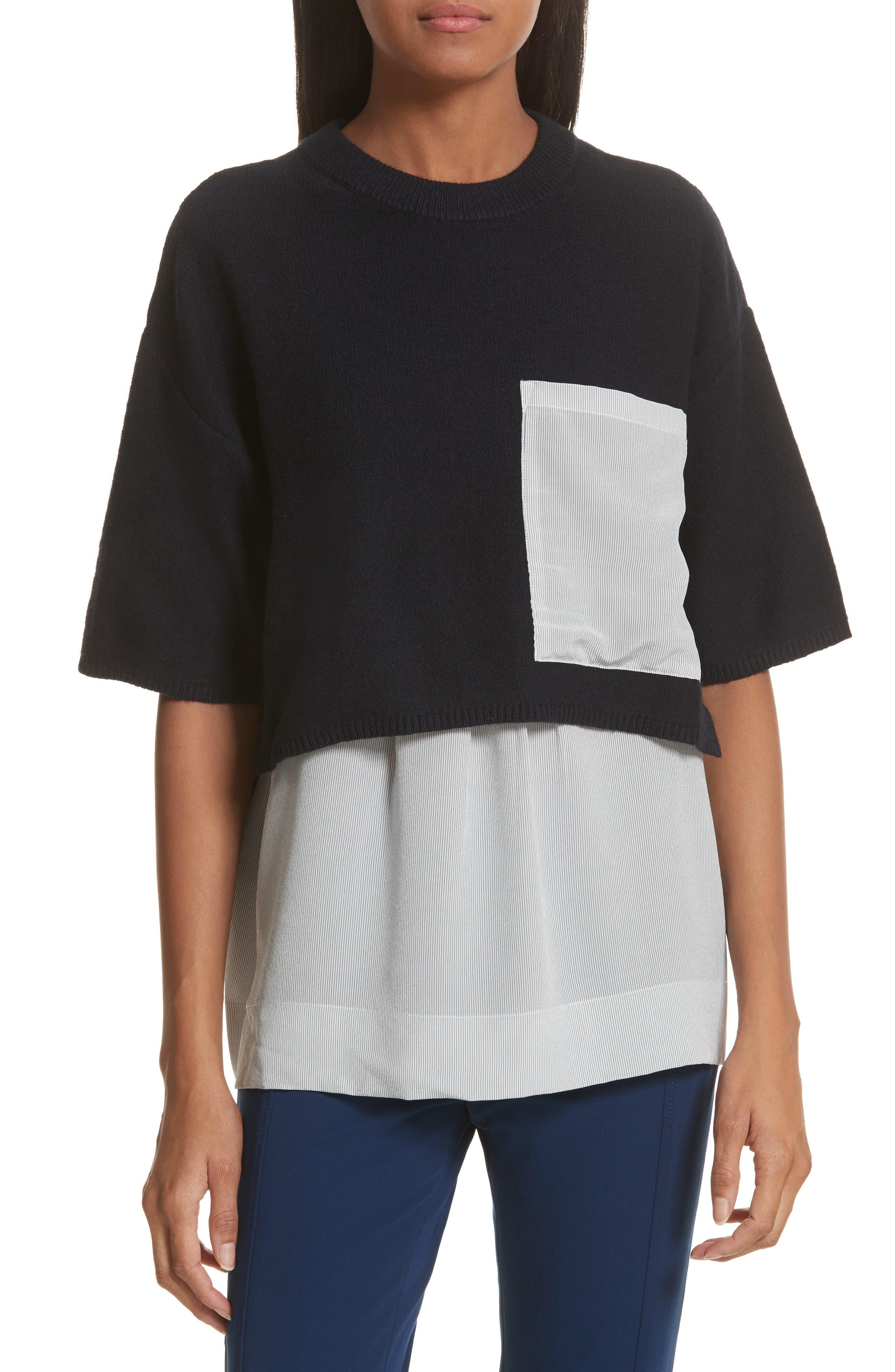 JOSEPH Woven Stripe Inset Sweater