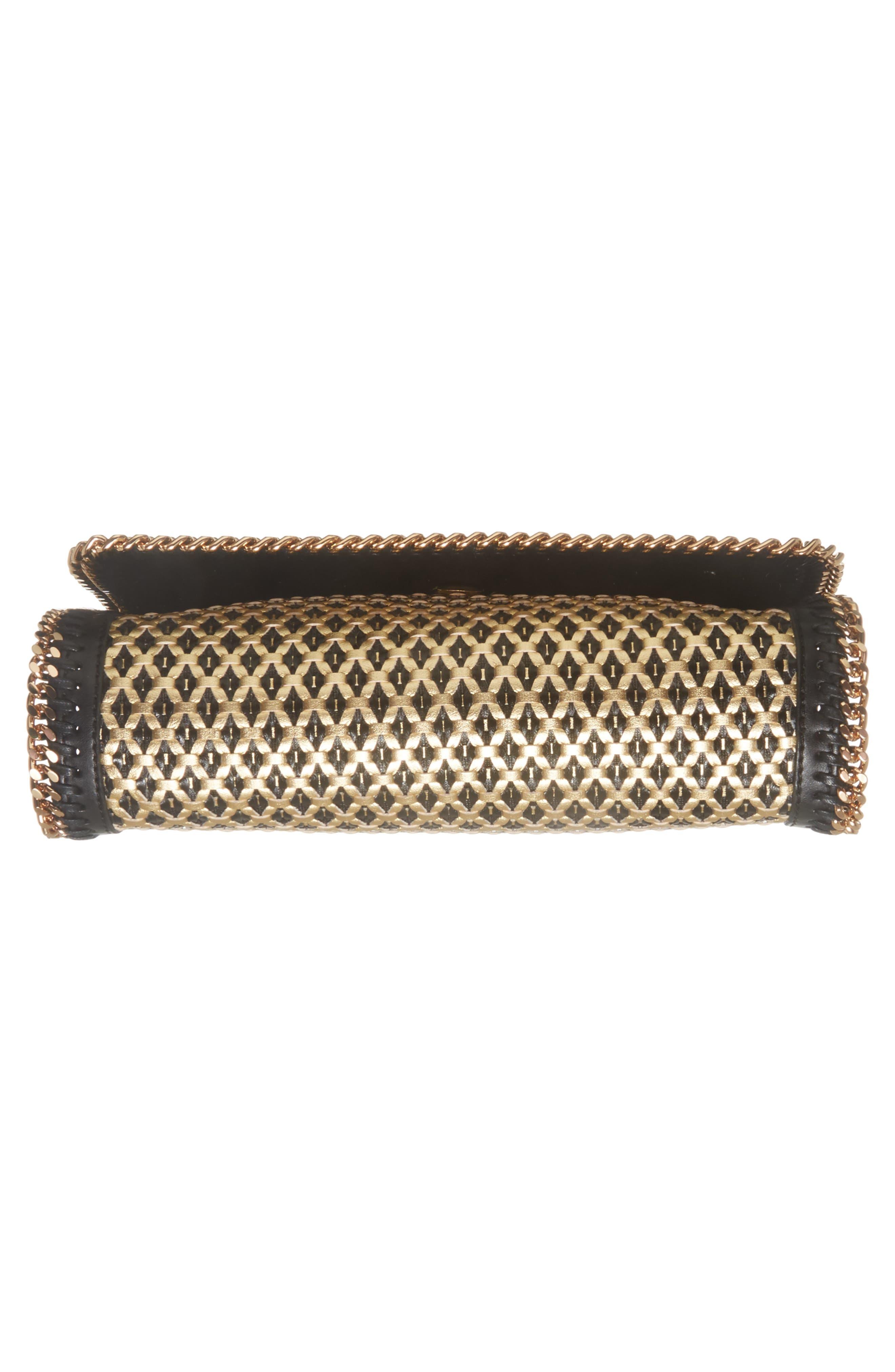 Woven Faux Leather Flap Shoulder Bag,                             Alternate thumbnail 6, color,                             Black