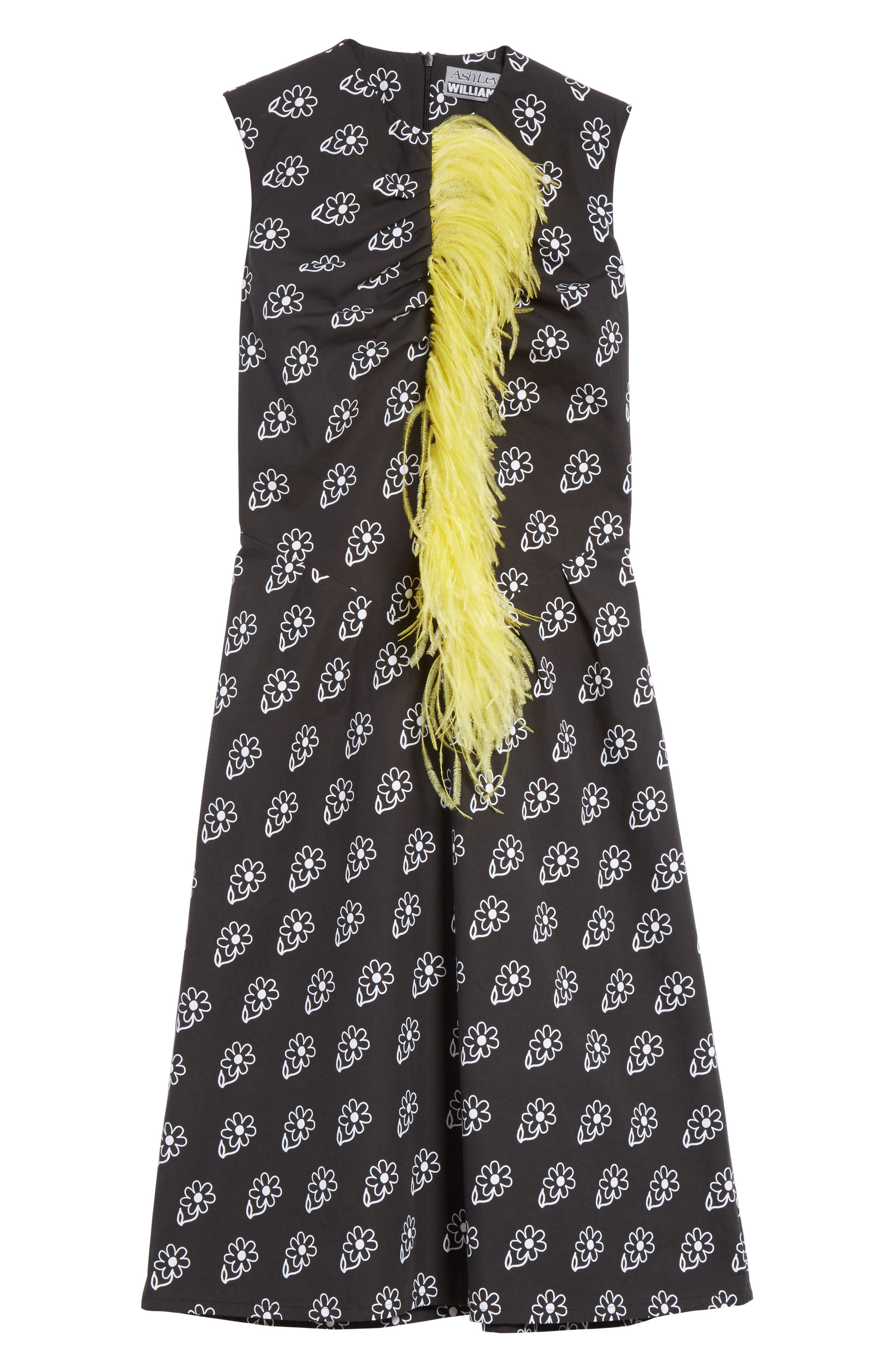 Bunny Sheath Dress with Ostrich Feather Trim,                             Alternate thumbnail 6, color,                             Black Daisy