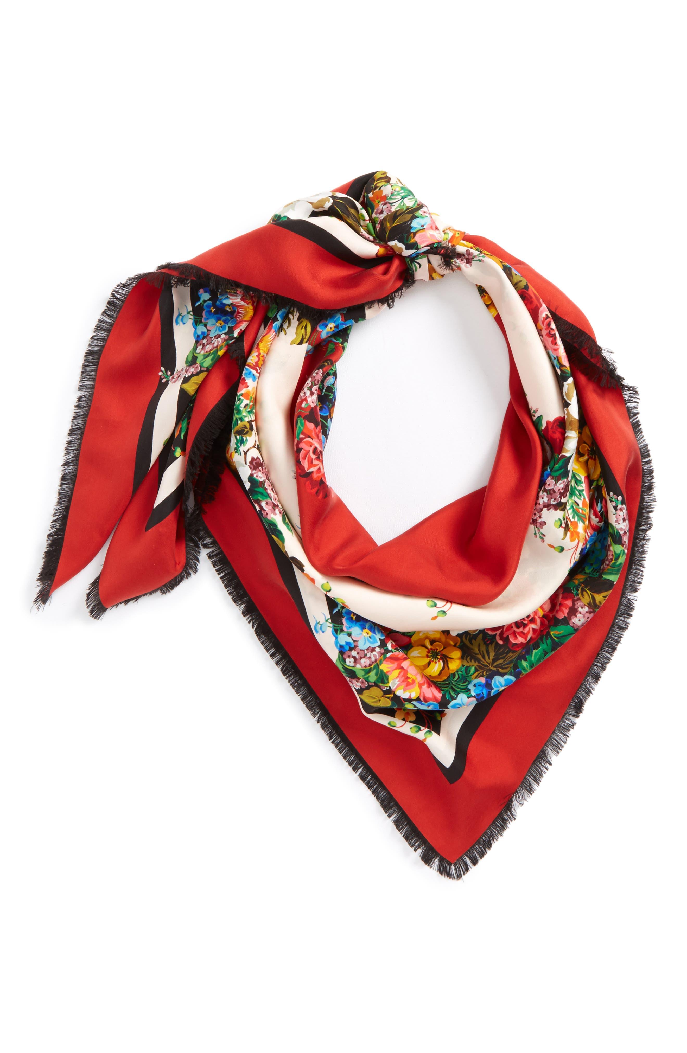Josephine Stripe Square Silk Shawl,                             Main thumbnail 1, color,                             Black/ Multicolor