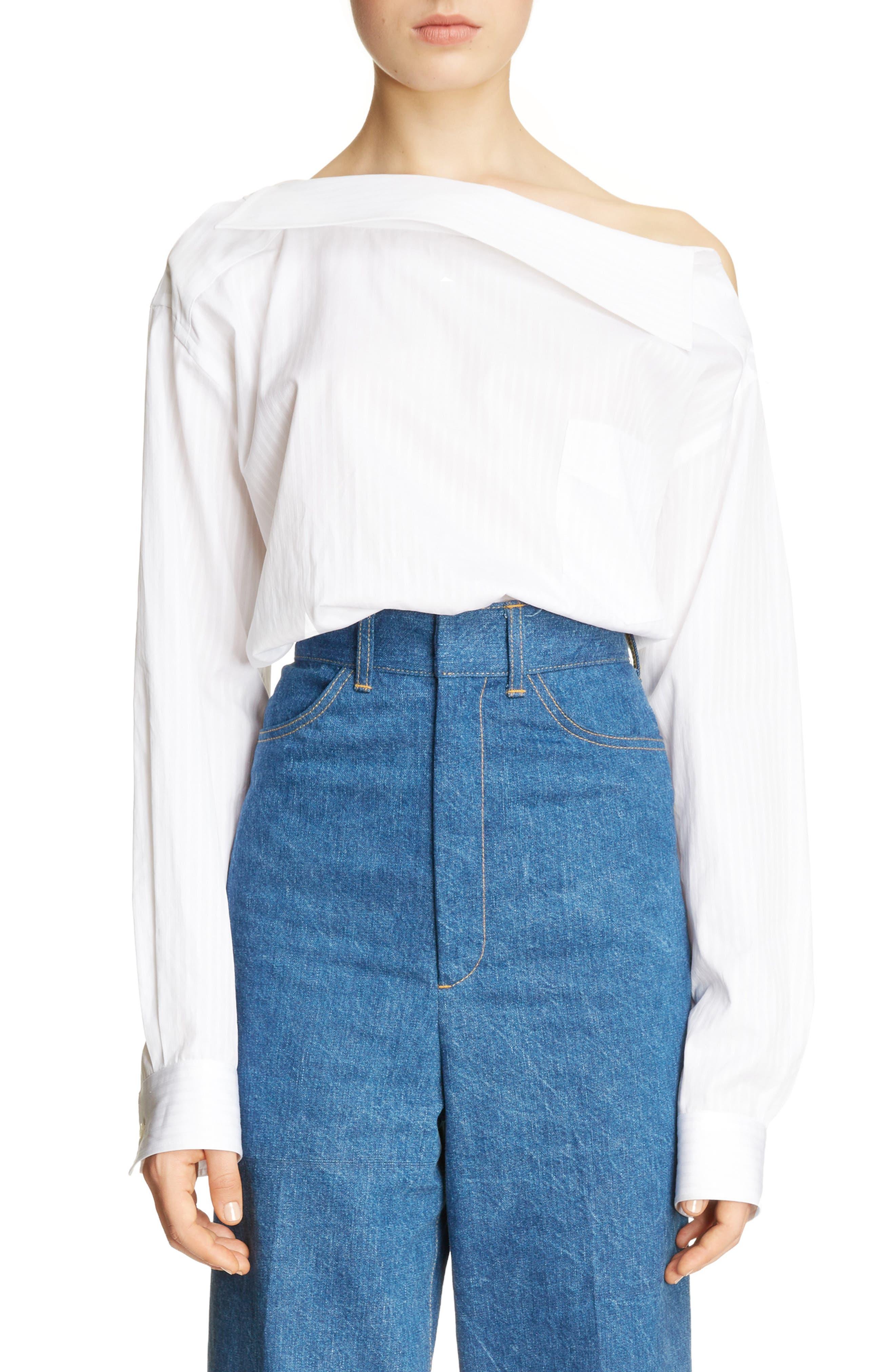Asymmetrical One-Shoulder Blouse,                         Main,                         color, White