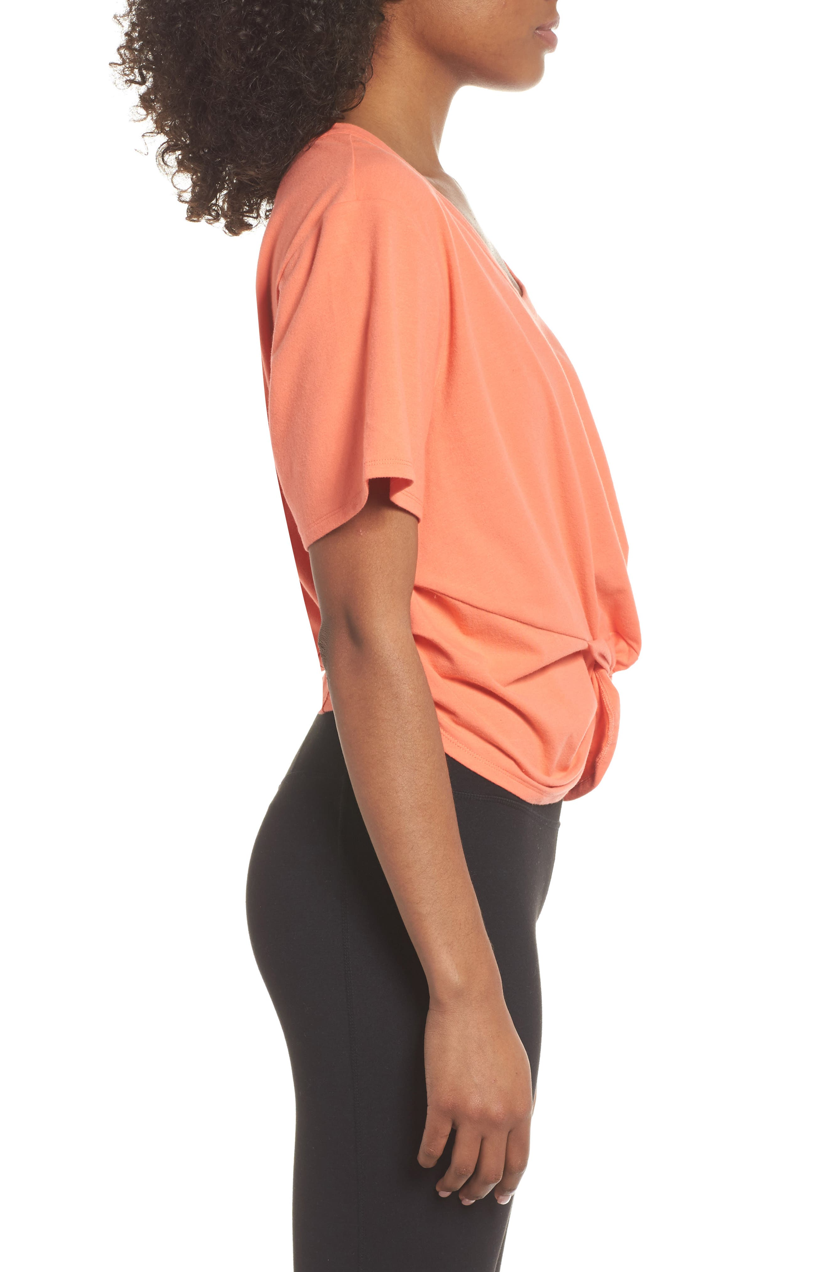 Knotty Crop Tee,                             Alternate thumbnail 3, color,                             Coral Reef