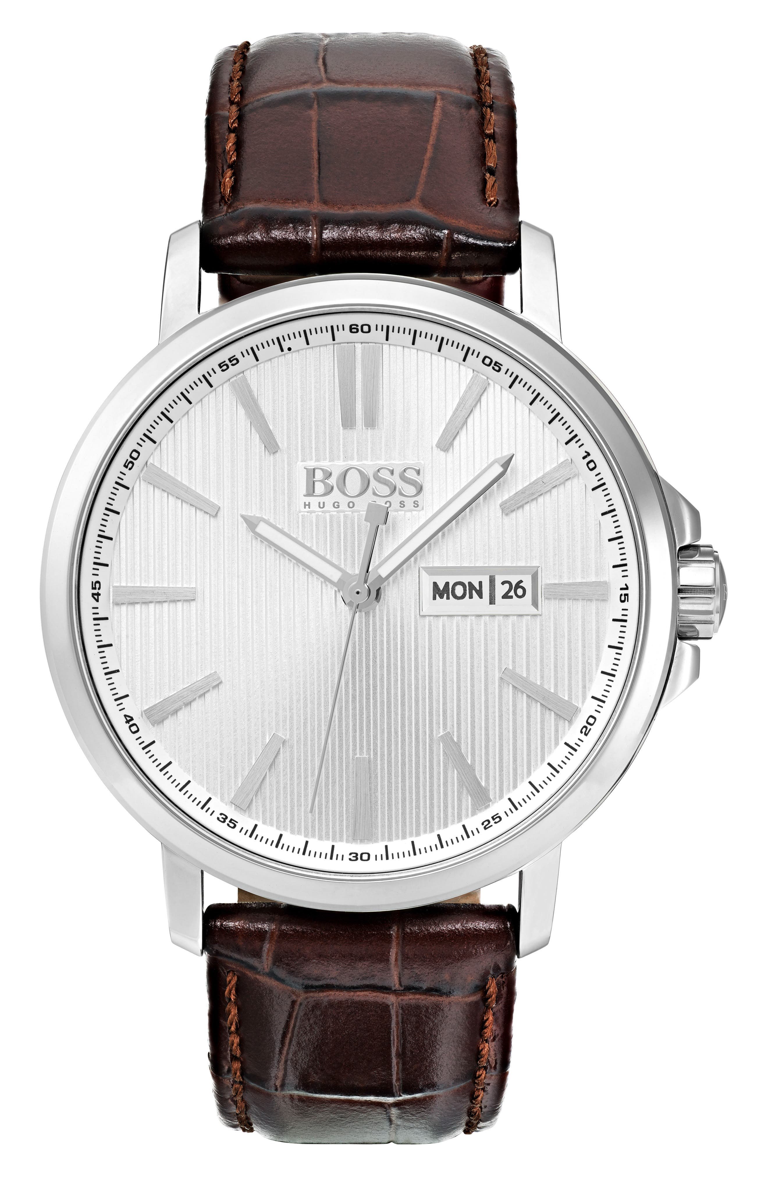 Round Embossed Leather Strap Watch, 43.7mm,                         Main,                         color, Silver/ Brown