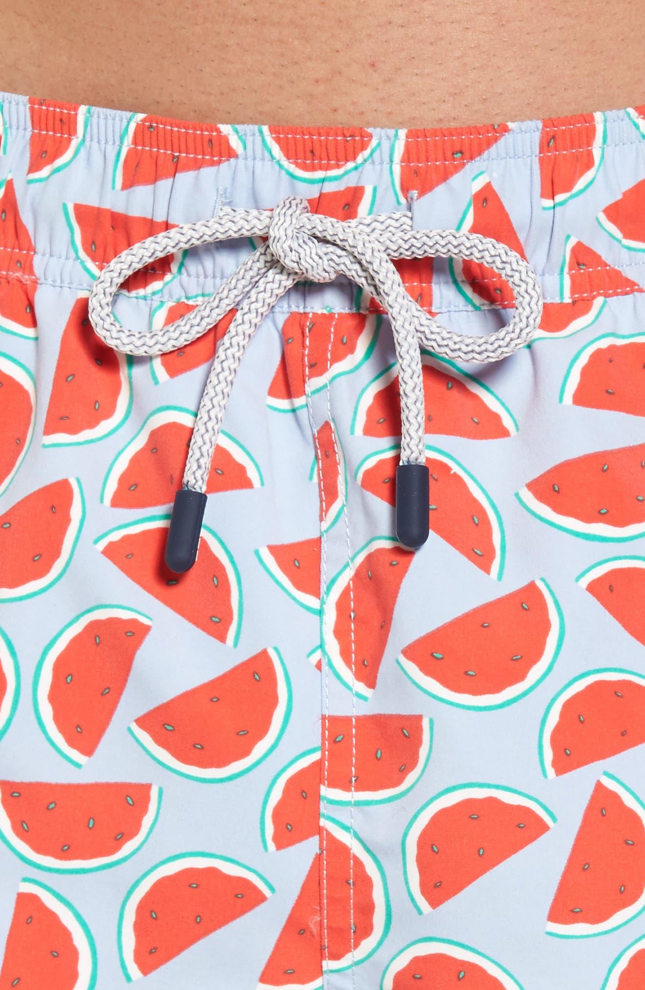 Watermelon Print Swim Trunks,                             Alternate thumbnail 4, color,                             Red