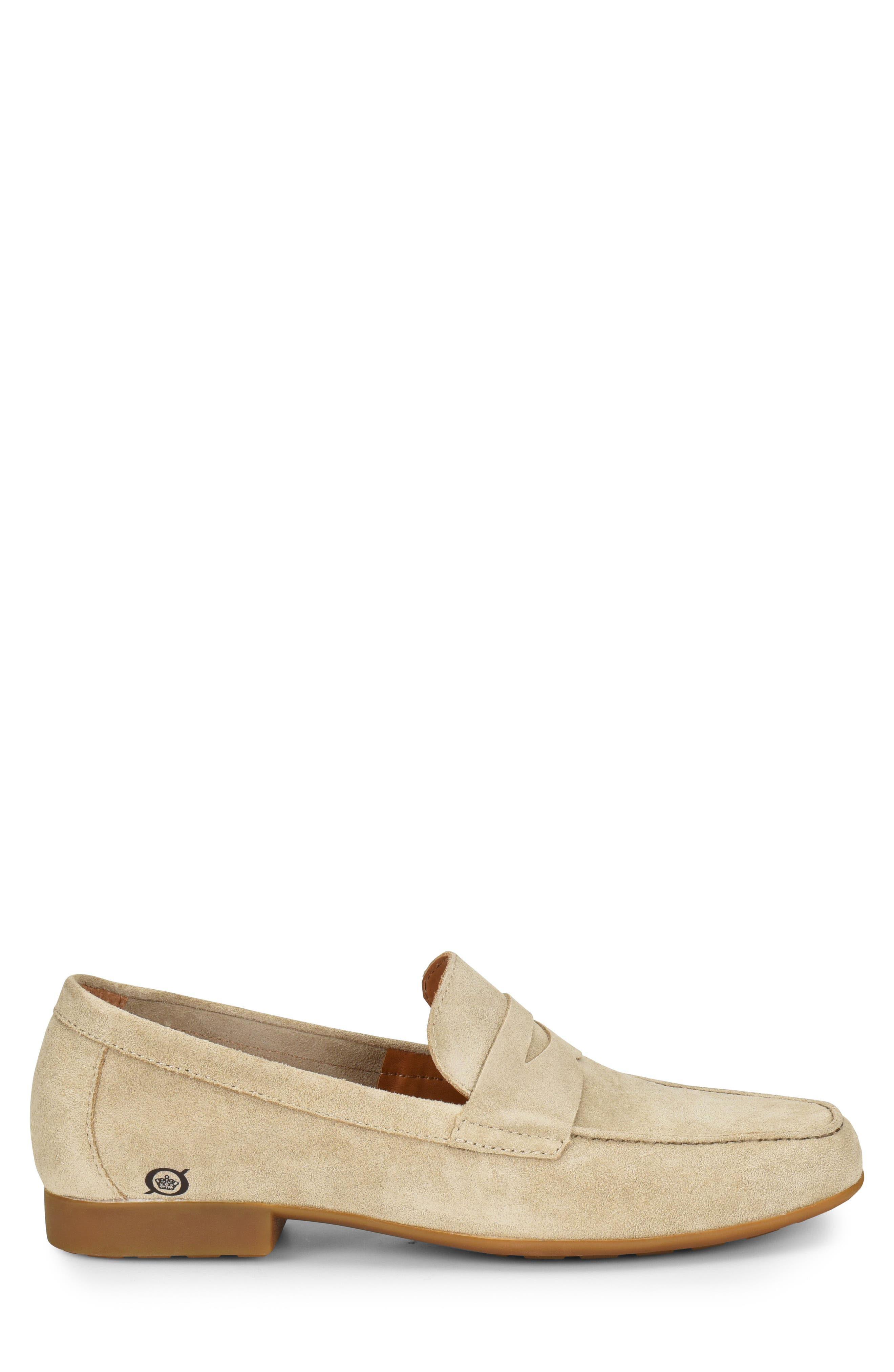 'Dave' Penny Loafer,                             Alternate thumbnail 3, color,                             Natural Suede