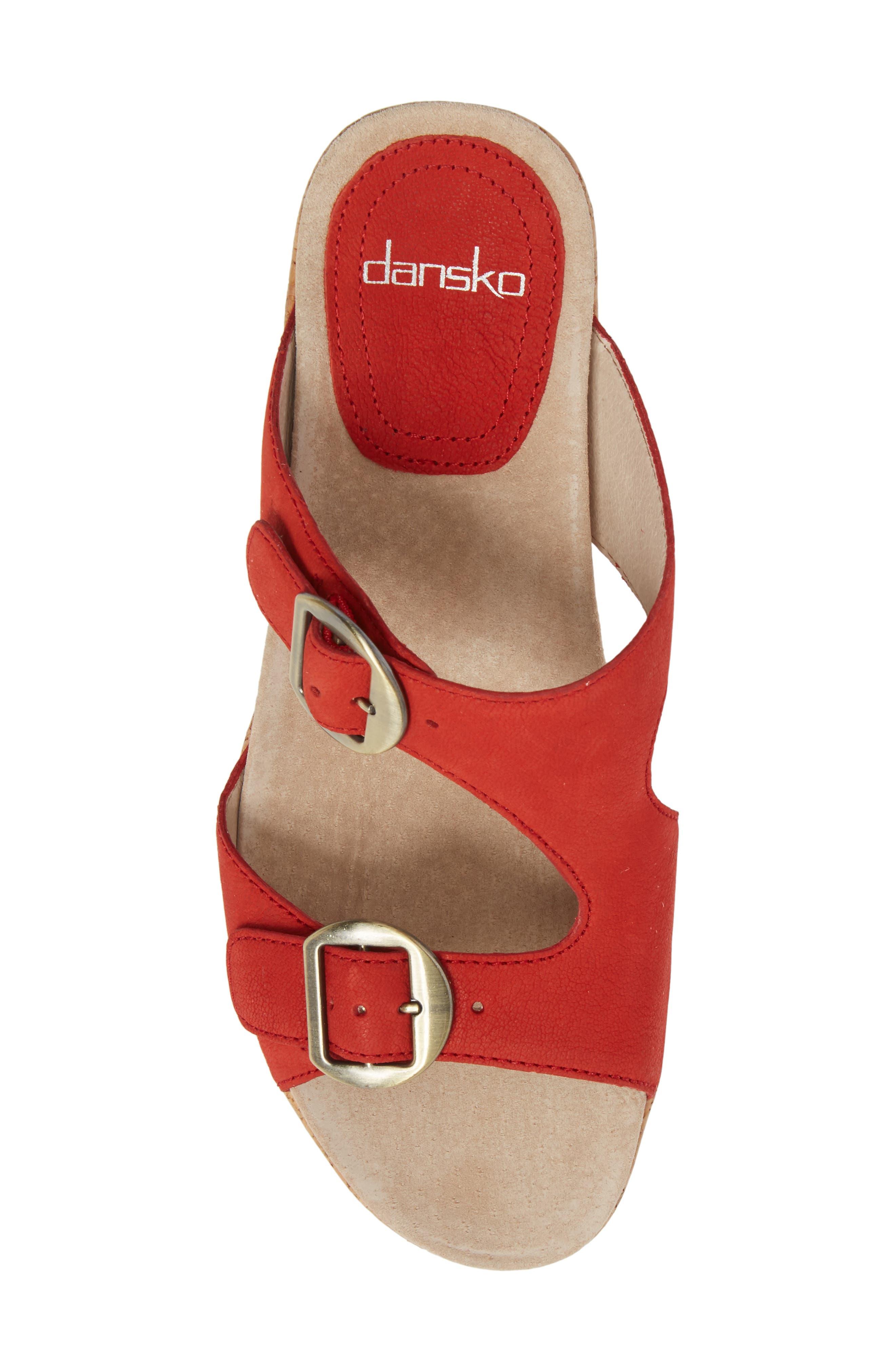 Carla Wedge Slide Sandal,                             Alternate thumbnail 5, color,                             Tomato Milled Nubuck Leather