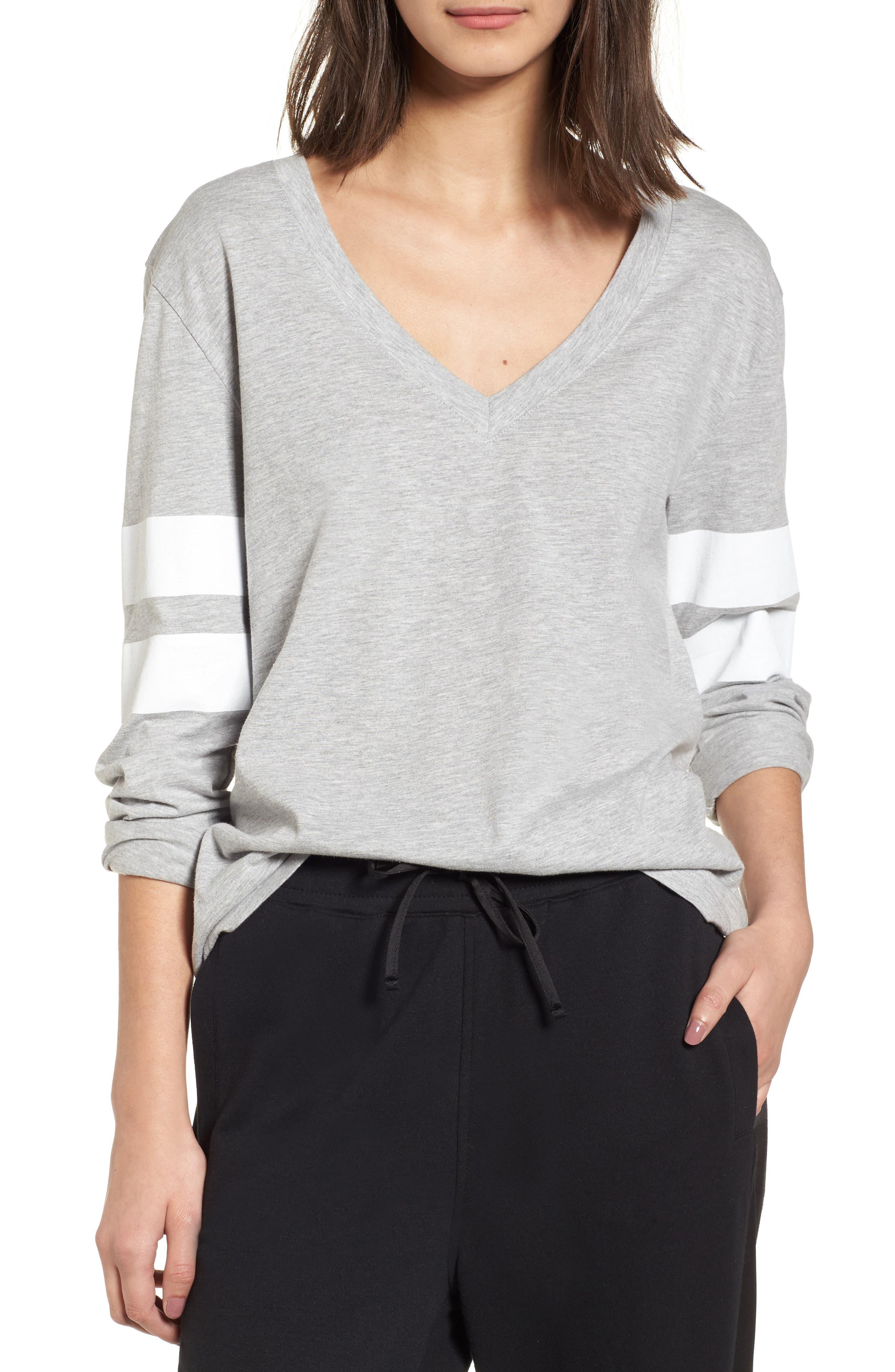 Varsity Stripe Tee,                         Main,                         color, Grey Heather- White Combo