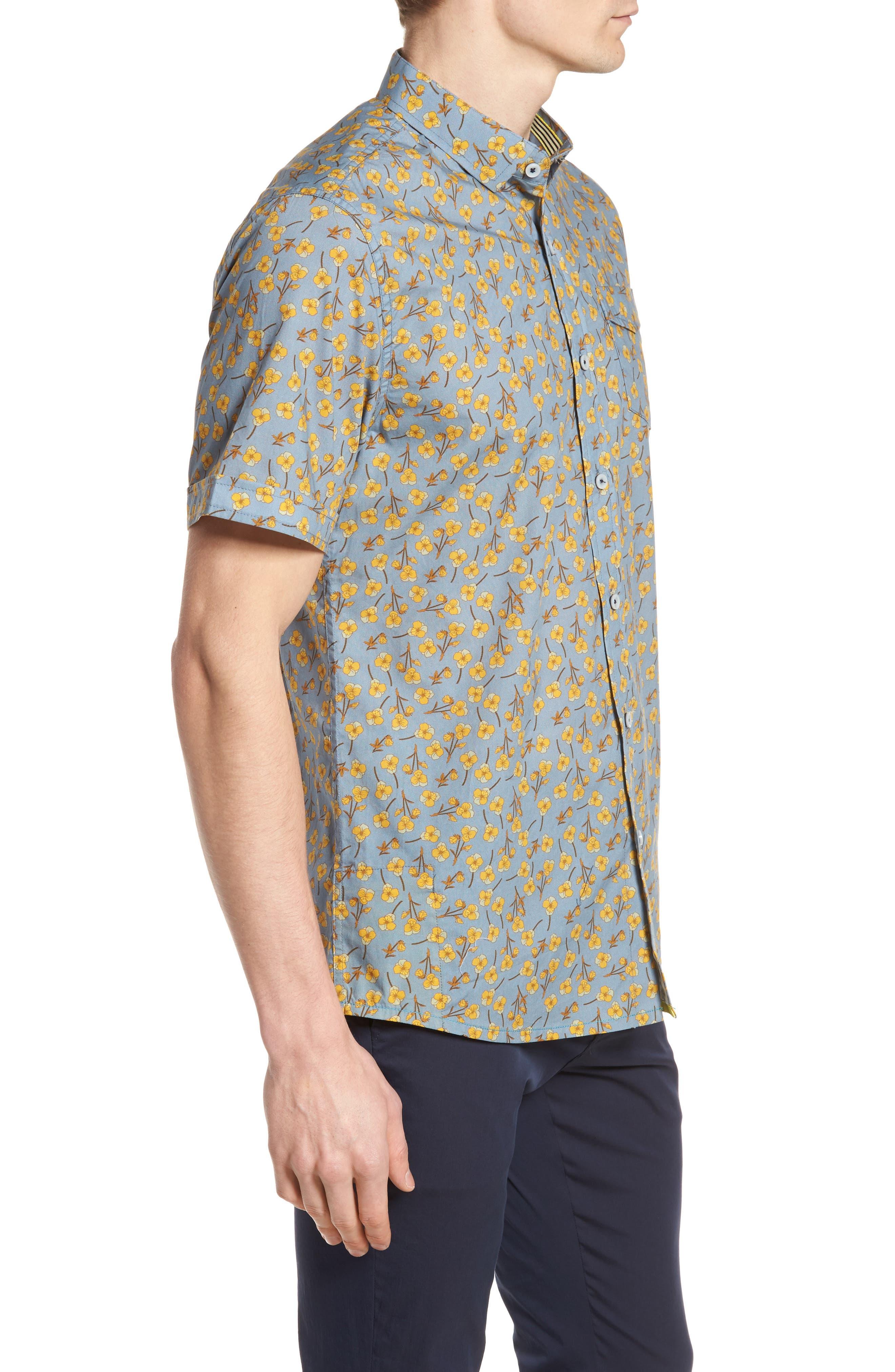 Golden Flower Shirt,                             Alternate thumbnail 4, color,                             Gold