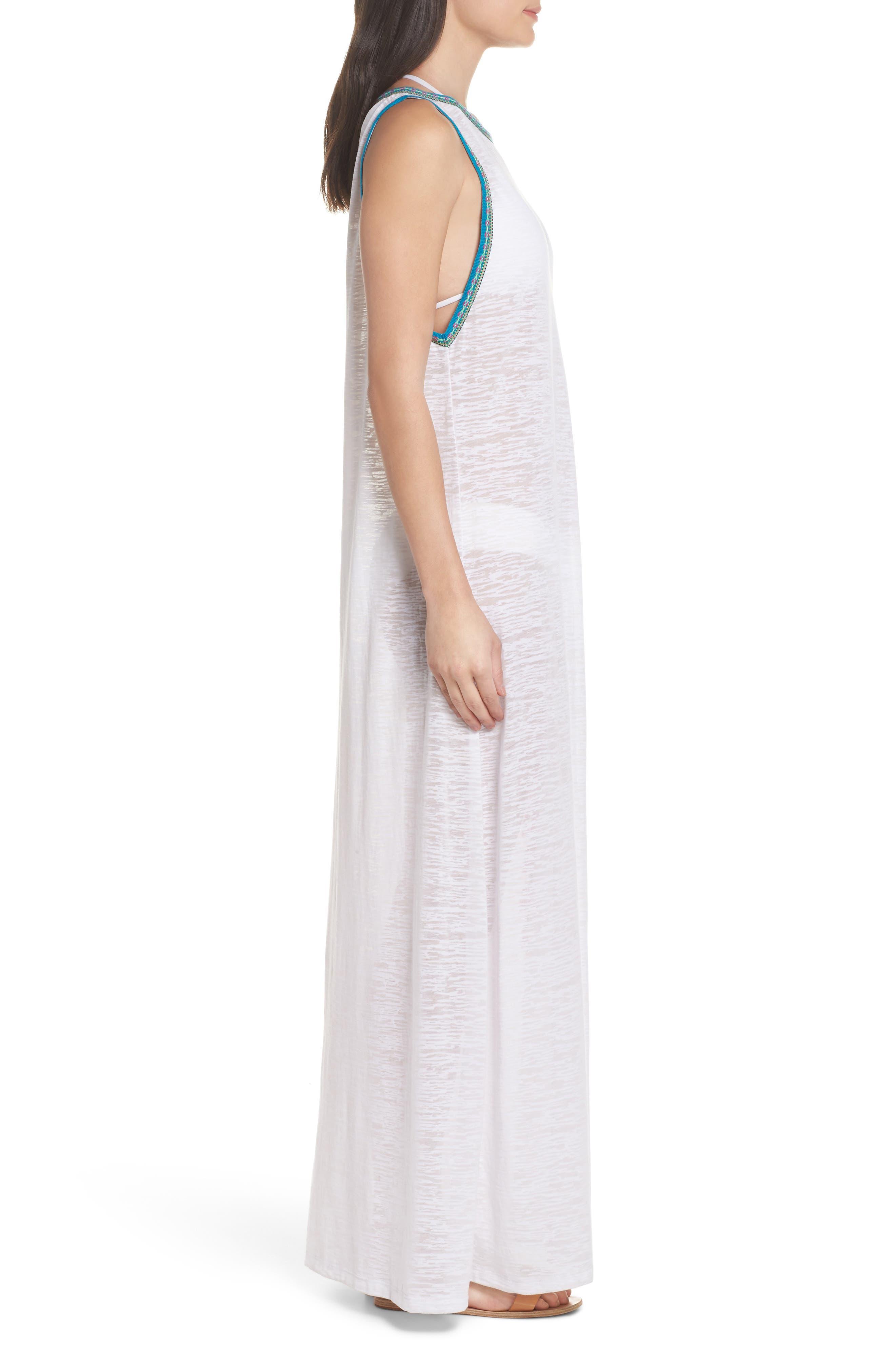 Tassel Slit Cover-Up Maxi Dress,                             Alternate thumbnail 3, color,                             White