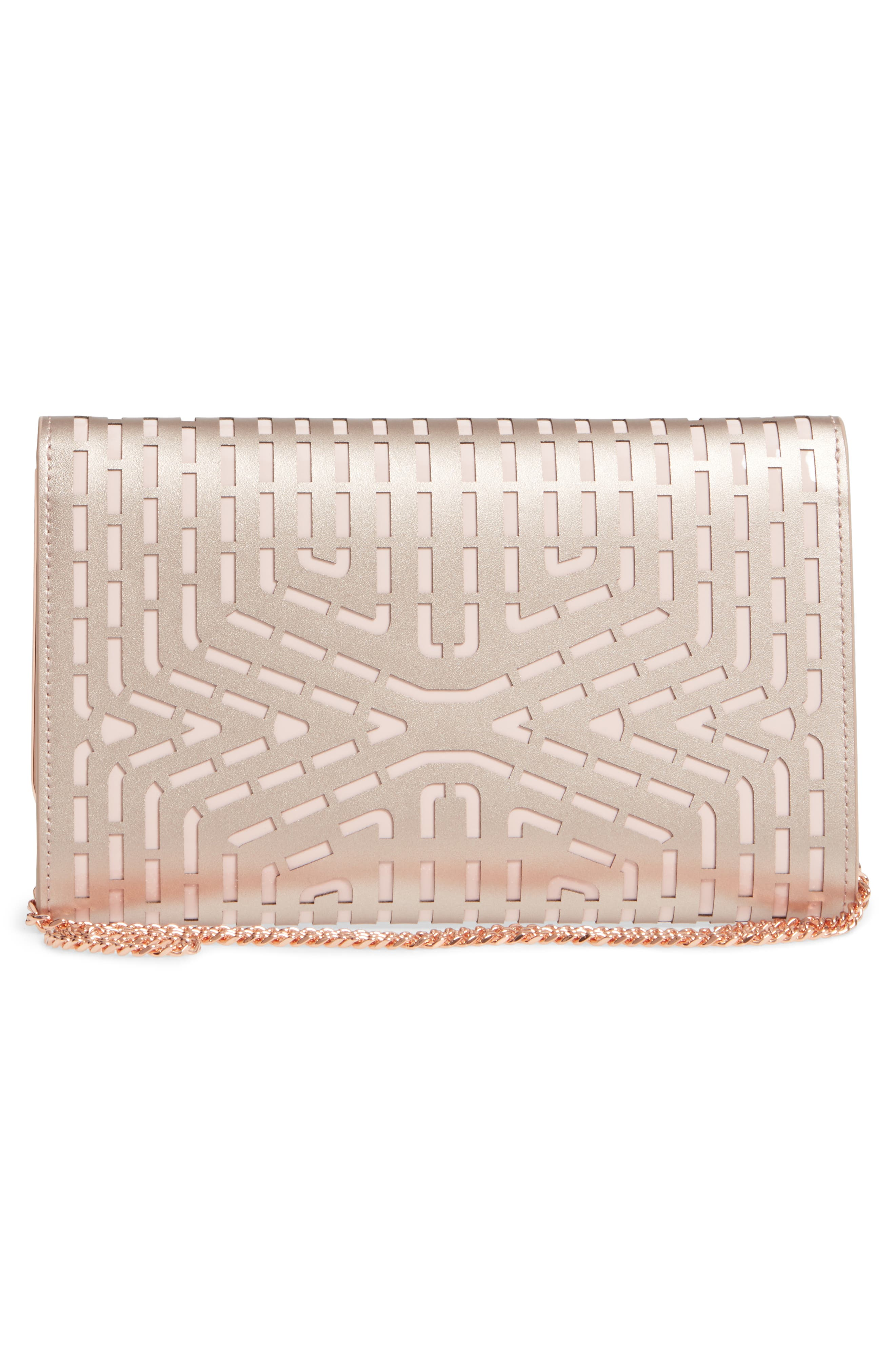 Bree Laser Cut Bow Leather Clutch,                             Alternate thumbnail 3, color,                             Rose Gold