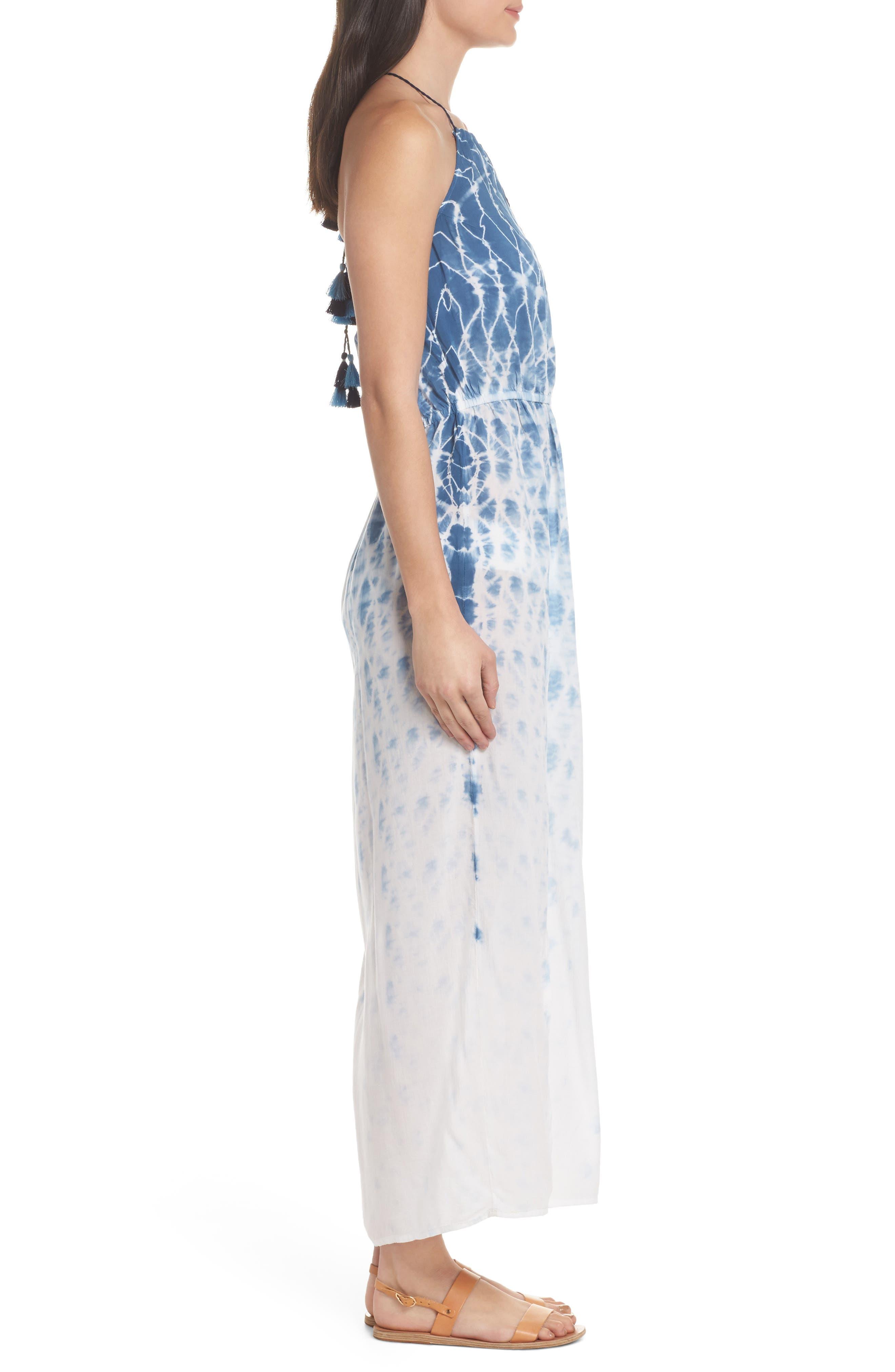 Tie Dye Halter Cover-Up Maxi Dress,                             Alternate thumbnail 3, color,                             Navy