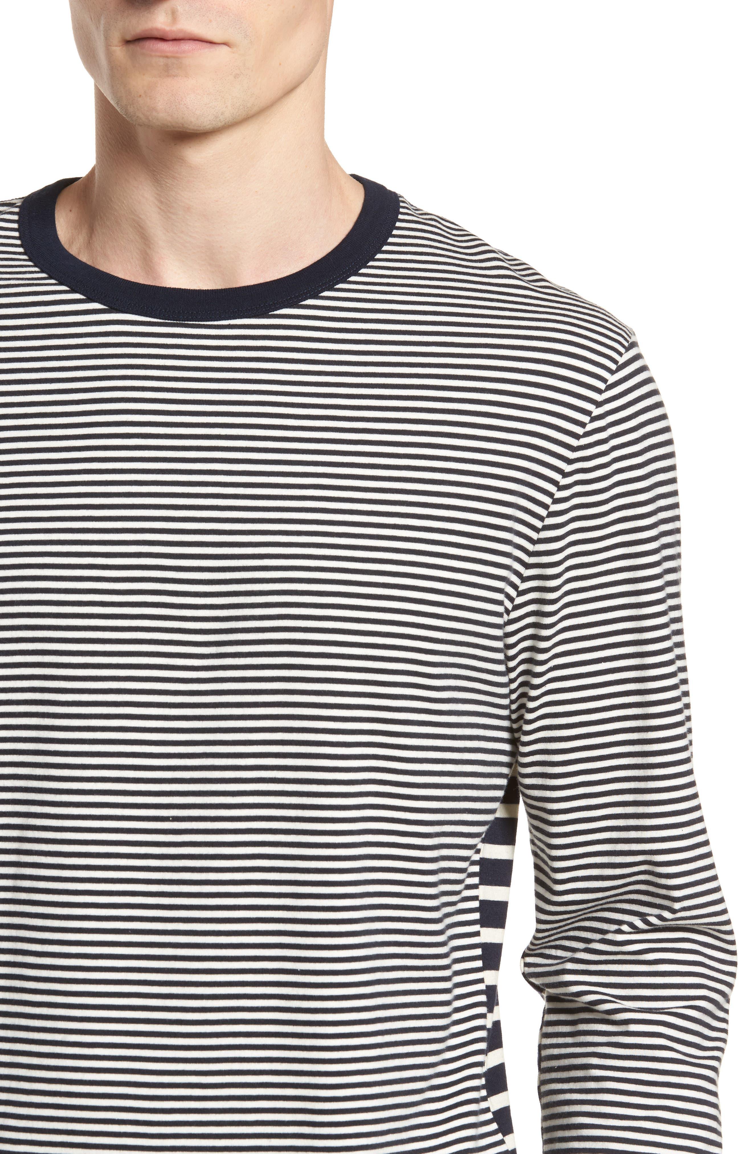 Mix Stripe Long Sleeve T-Shirt,                             Alternate thumbnail 3, color,                             Turtle Dove/ Marine Blue