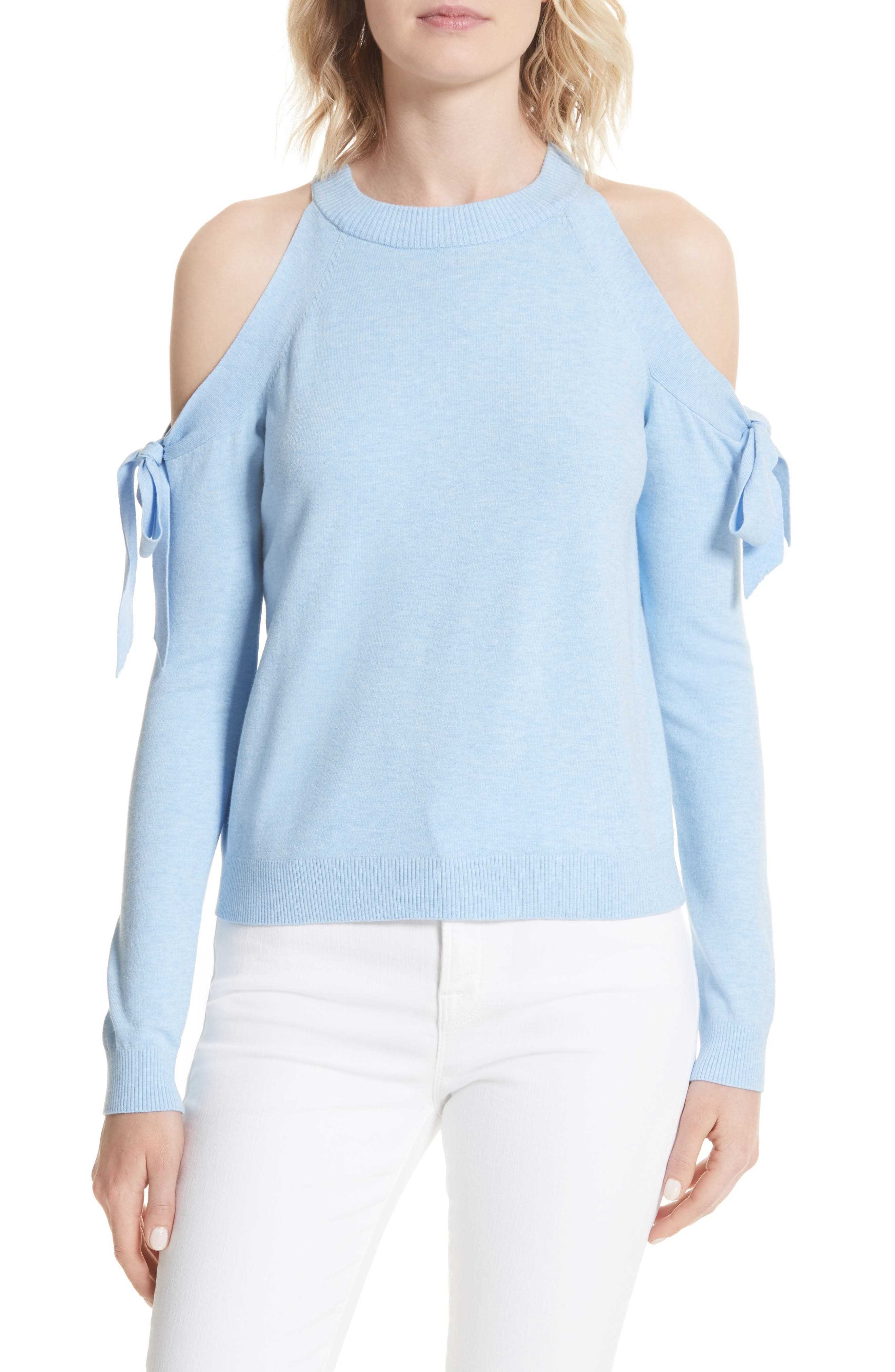 Cold Shoulder Tie Sleeve Sweater,                             Main thumbnail 1, color,                             Chambray