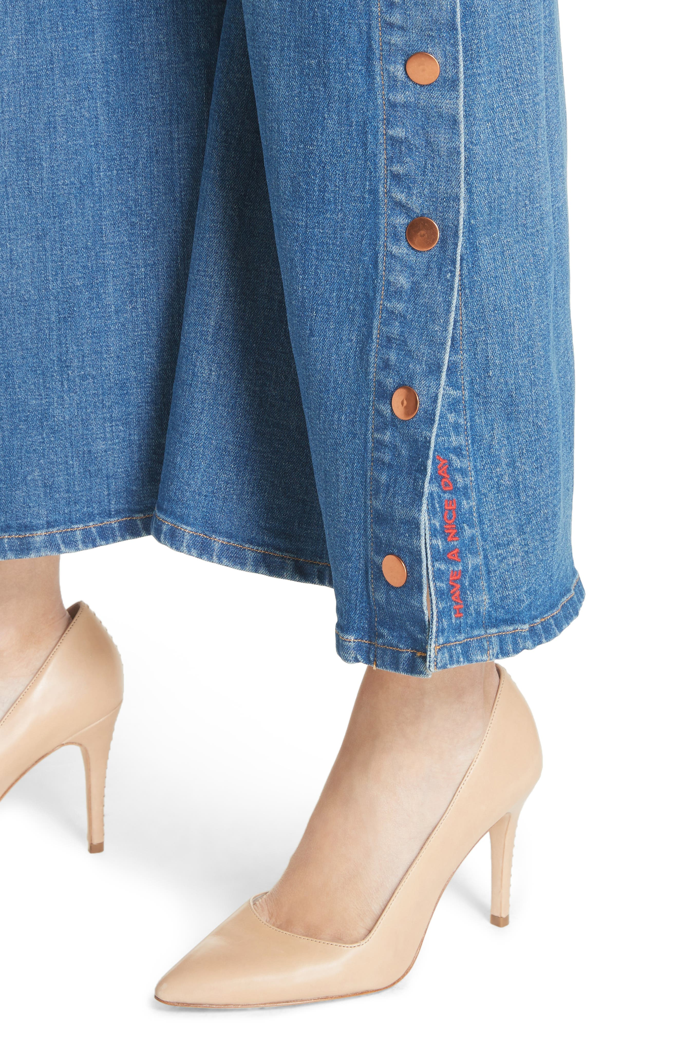 AO.LA Gorgeous Snap Side Crop Flare Jeans,                             Alternate thumbnail 4, color,                             French Blue