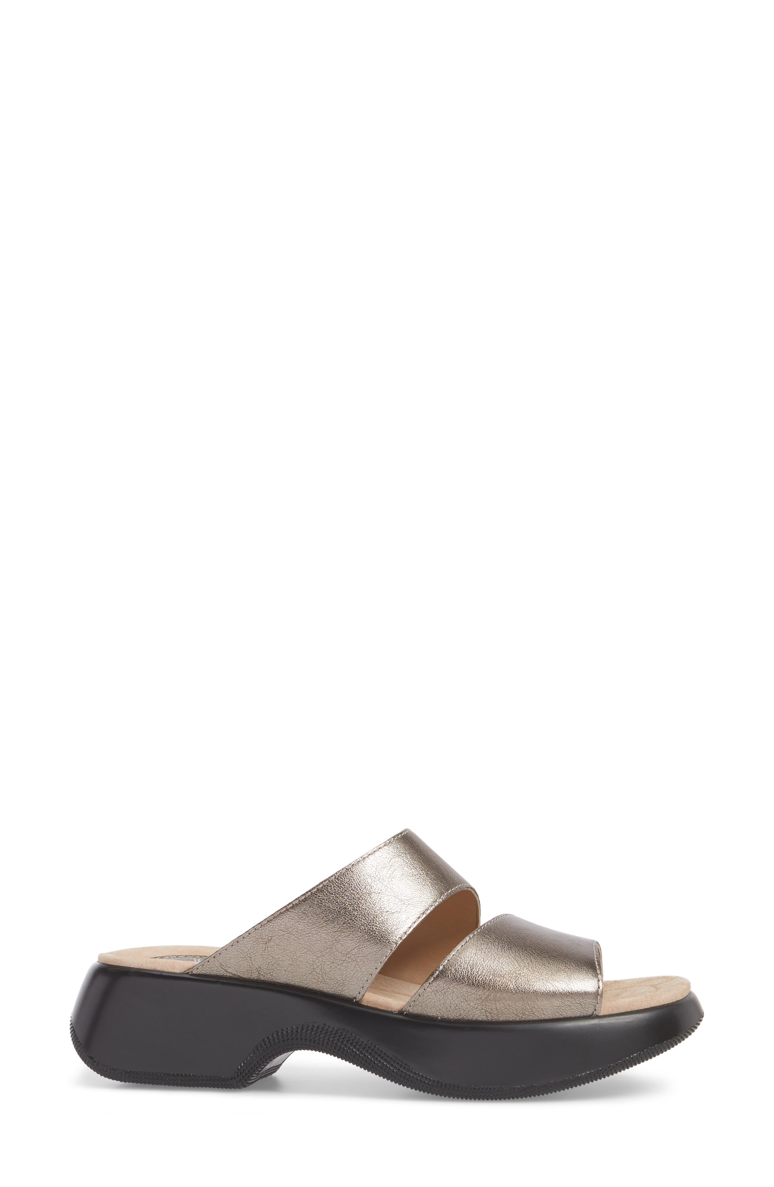Lana Slide Sandal,                             Alternate thumbnail 3, color,                             Pewter Leather