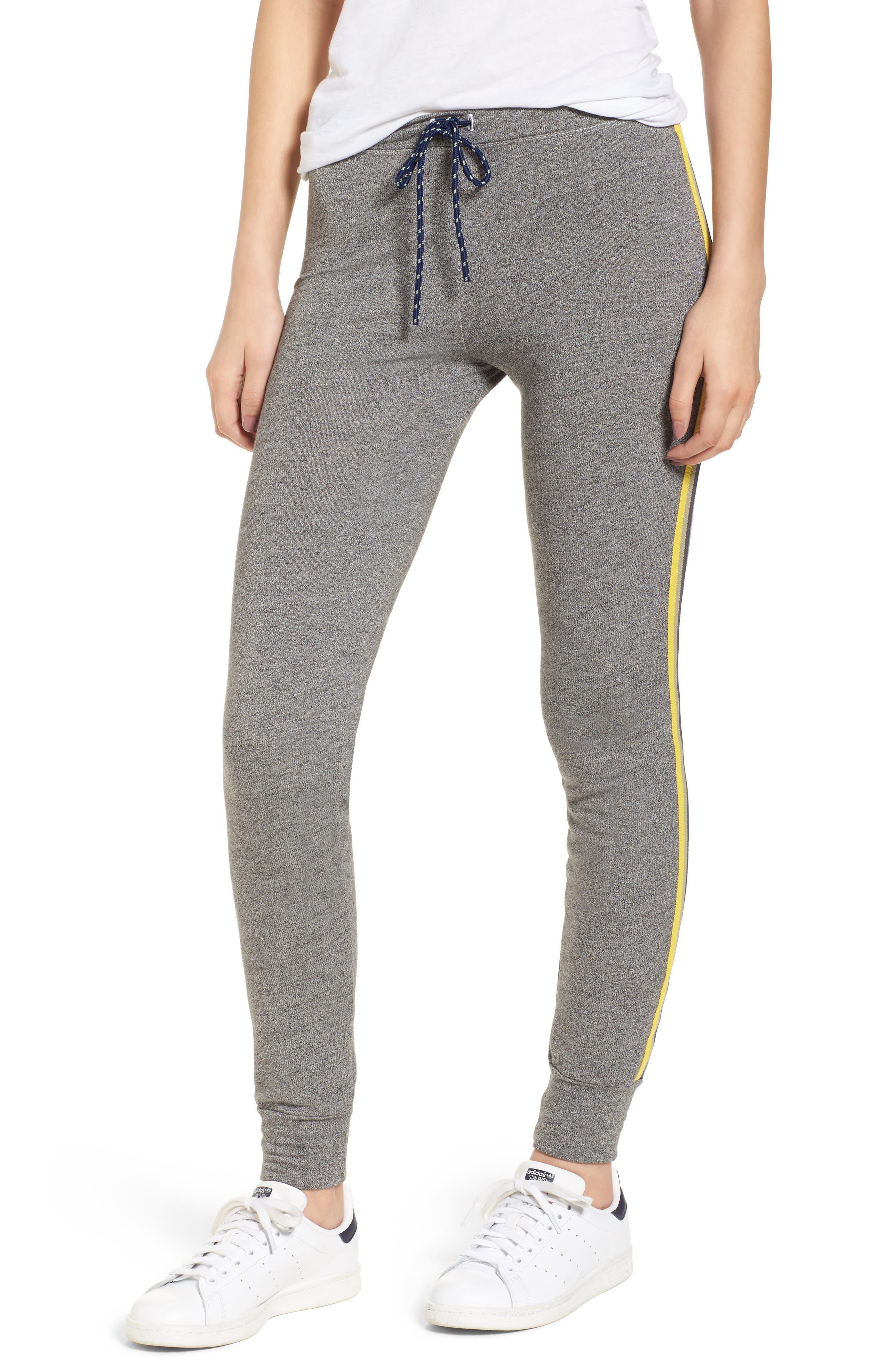 Stripe Trim Skinny Sweatpants,                             Main thumbnail 1, color,                             Heather Grey