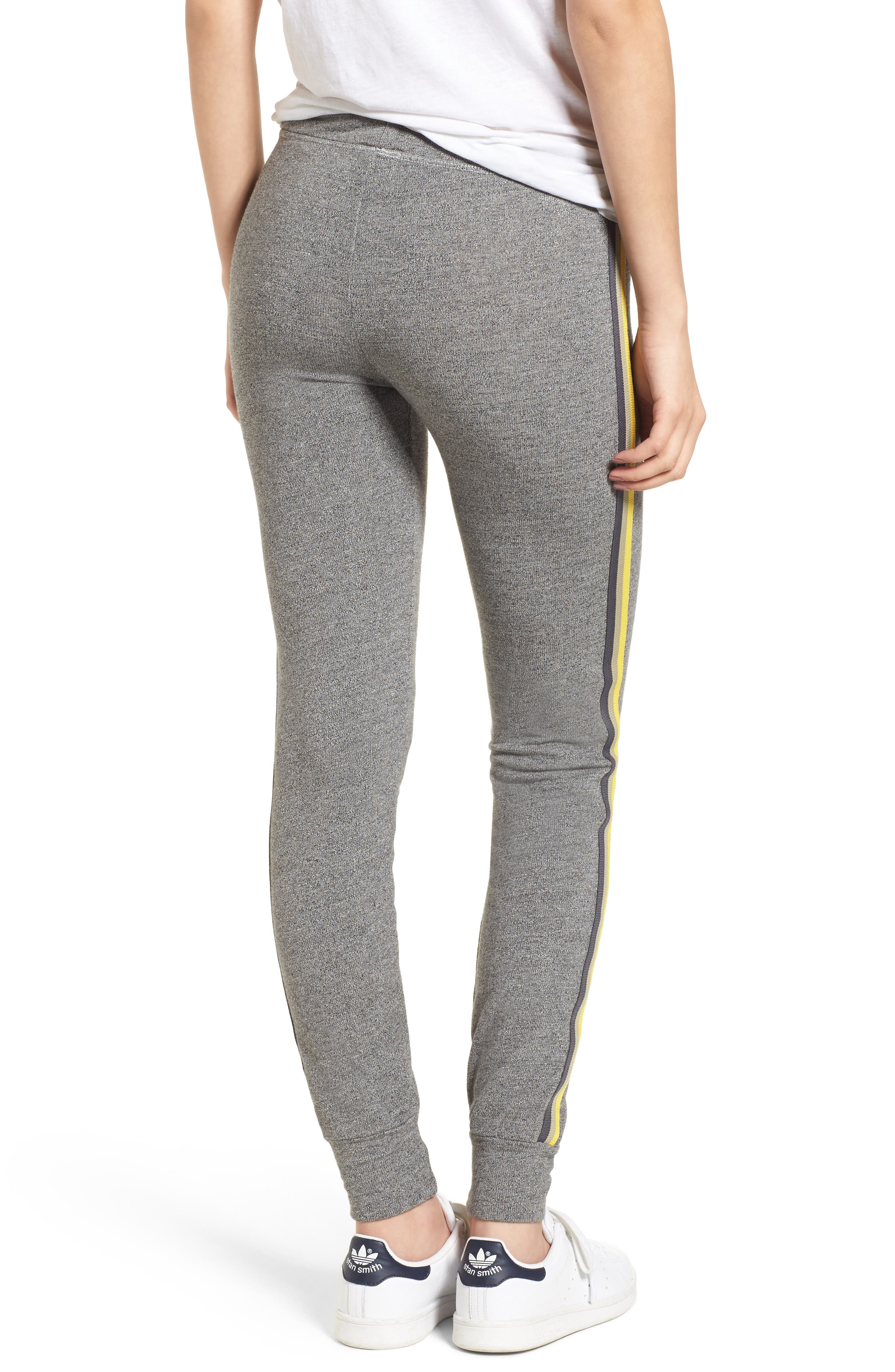 Stripe Trim Skinny Sweatpants,                             Alternate thumbnail 2, color,                             Heather Grey