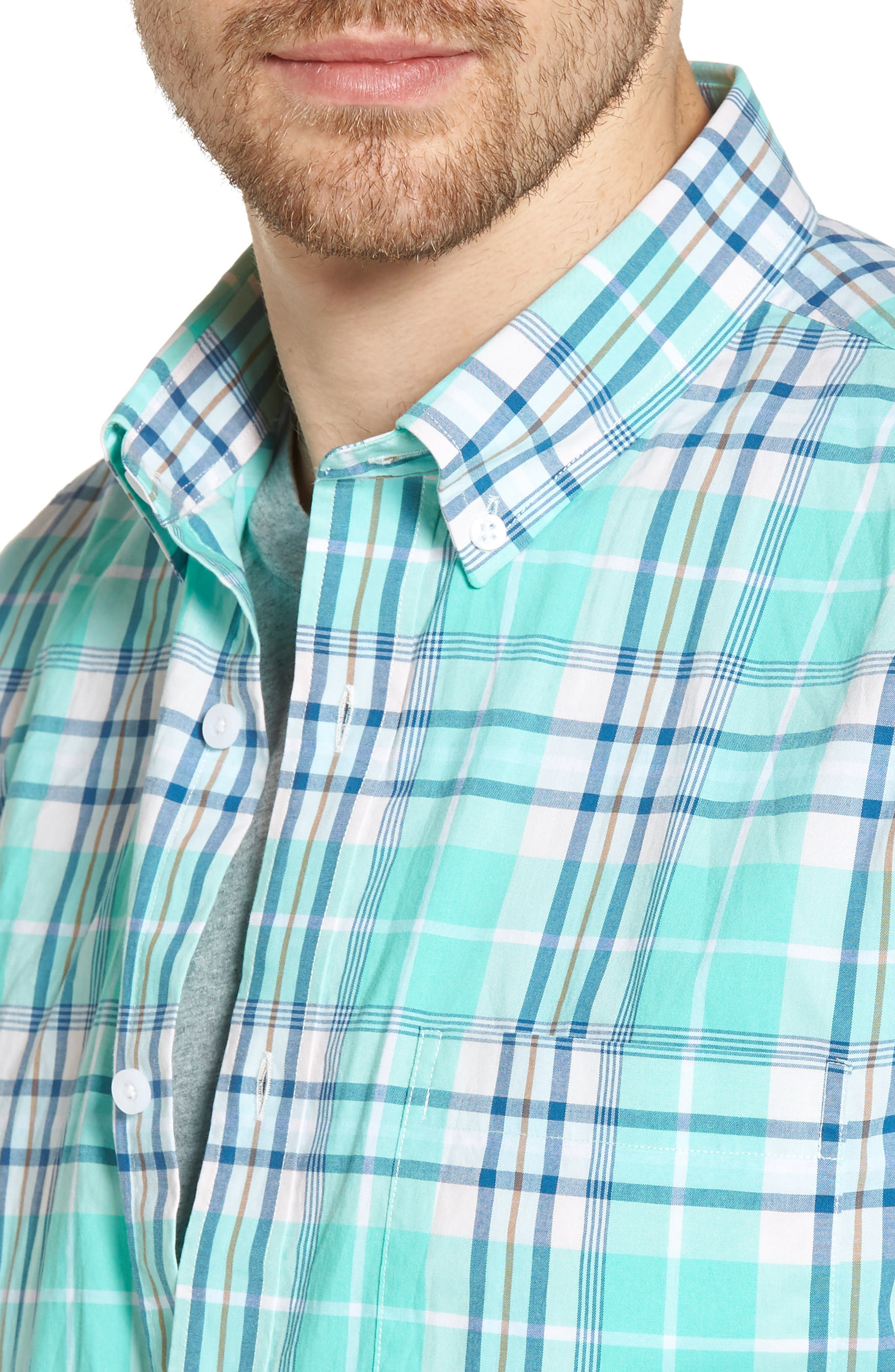 Trim Fit Tartan Stretch Sport Shirt,                             Alternate thumbnail 2, color,                             Green Largo Tartan