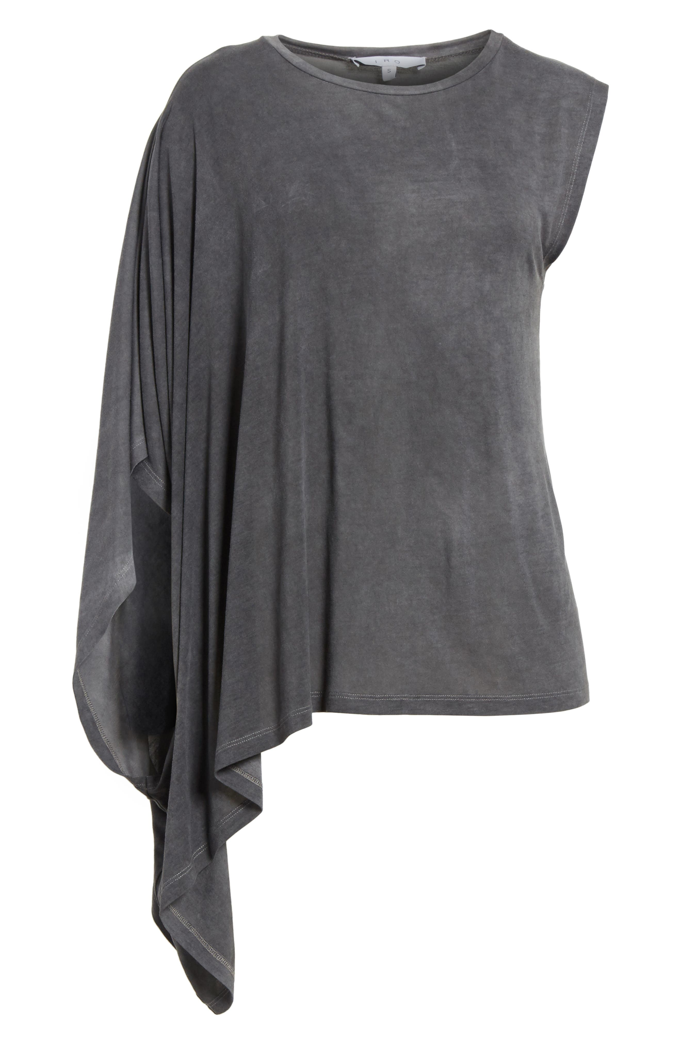 Eloaz Asymmetrical Draped Top,                             Alternate thumbnail 6, color,                             Charcoal