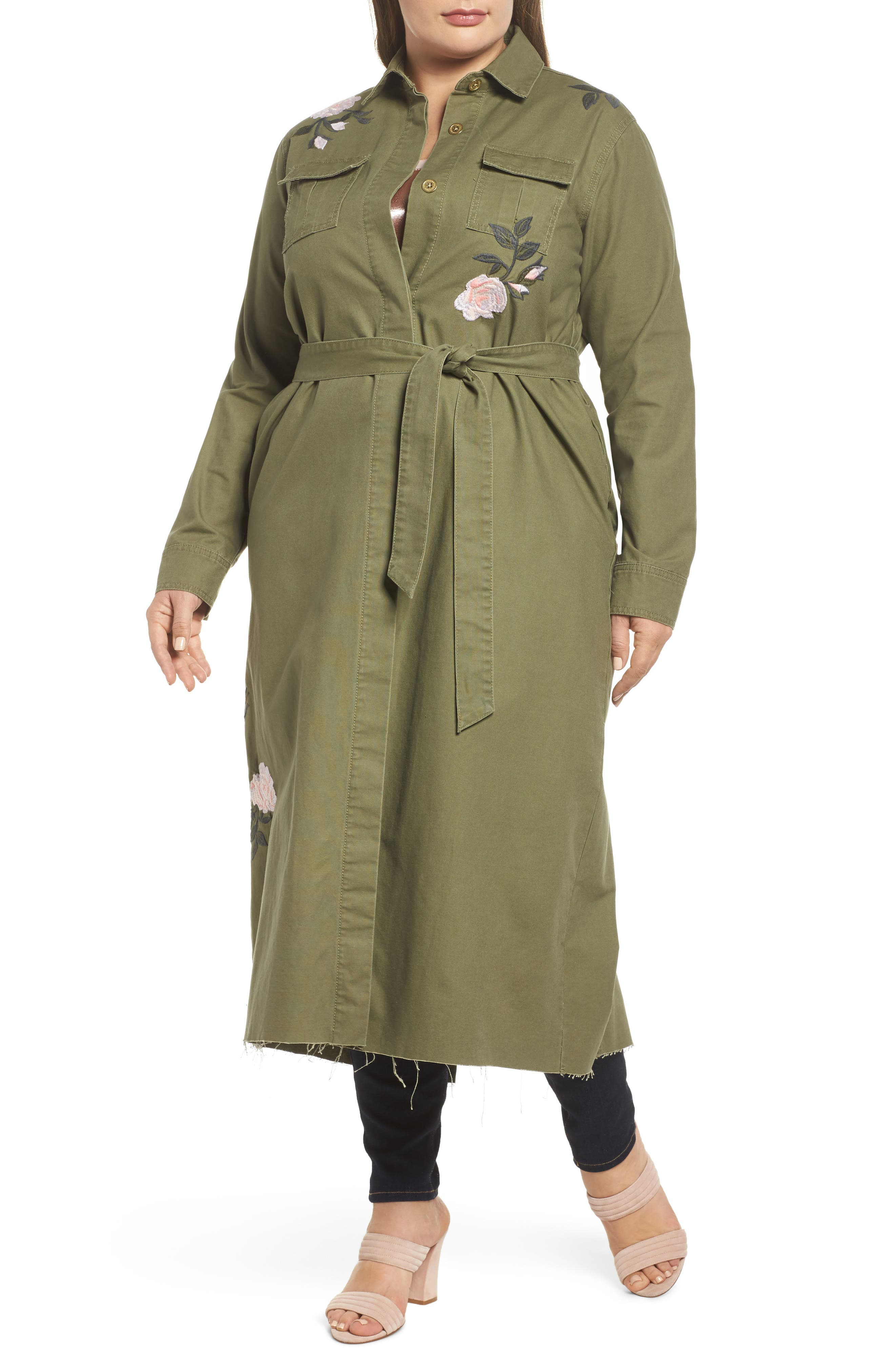 Embroidered Army Duster,                             Alternate thumbnail 4, color,                             Army