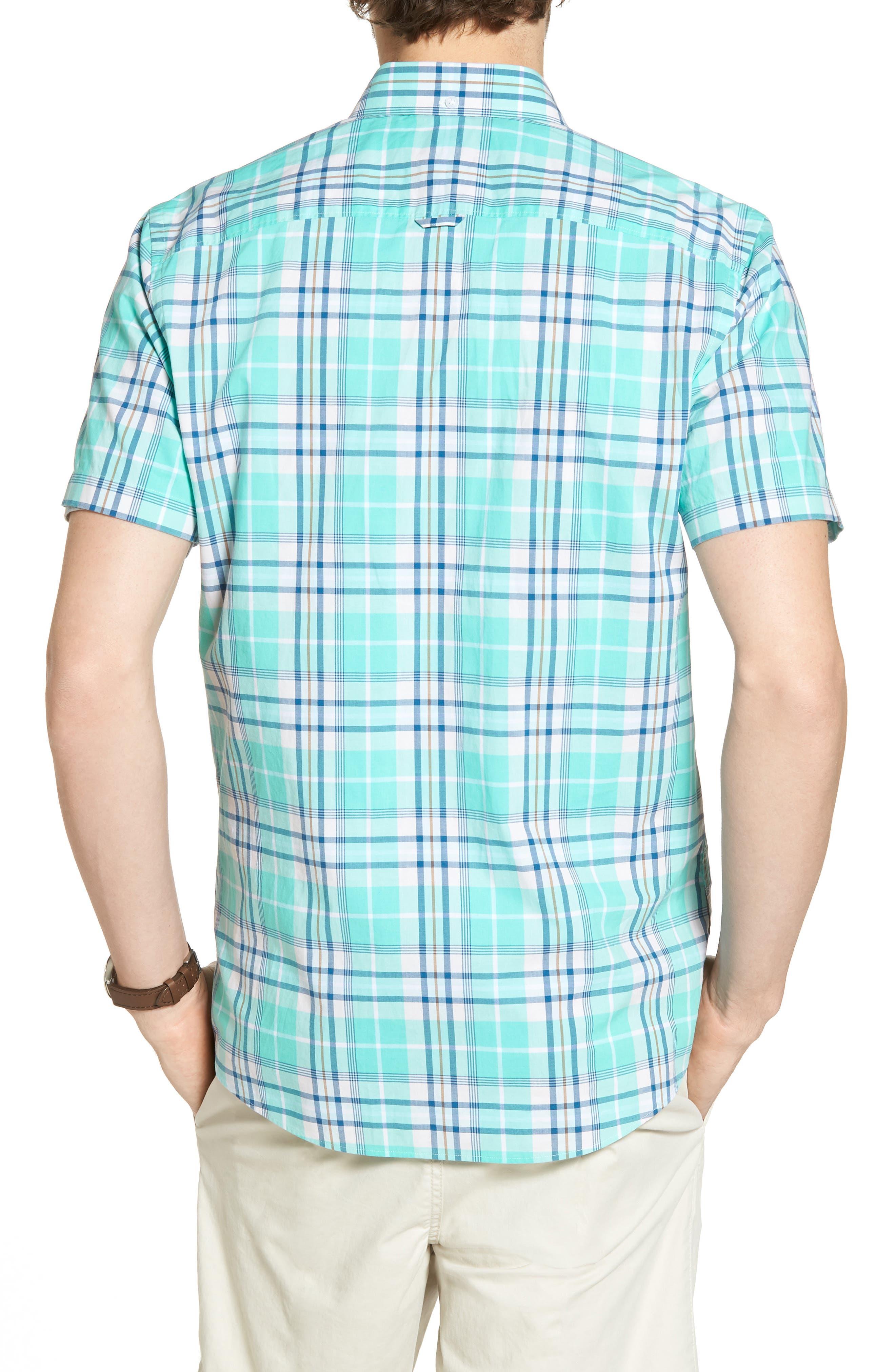 Trim Fit Tartan Stretch Sport Shirt,                             Alternate thumbnail 3, color,                             Green Largo Tartan