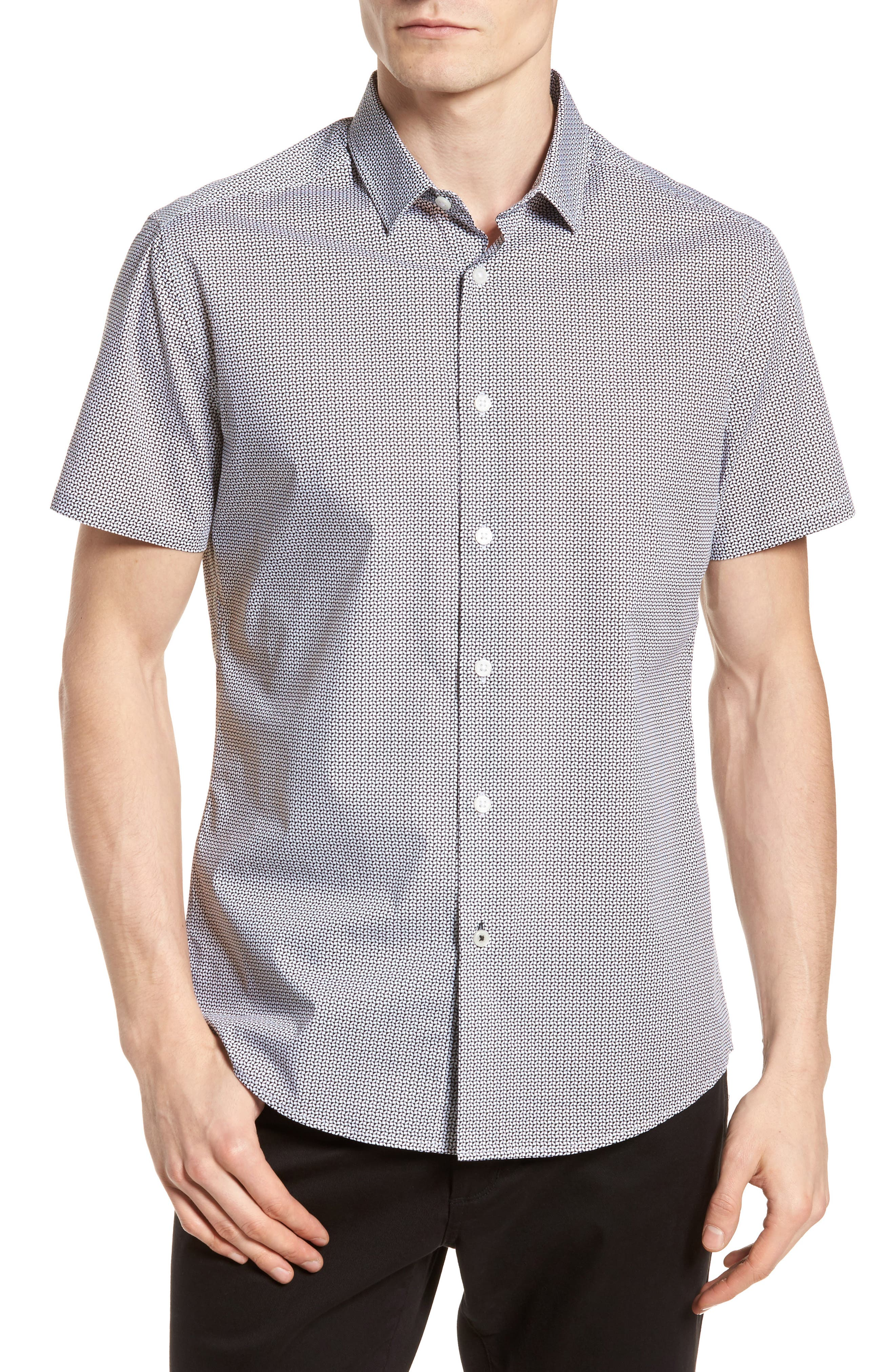 Slim Fit Geo Print Sport Shirt,                         Main,                         color, Black White Geo