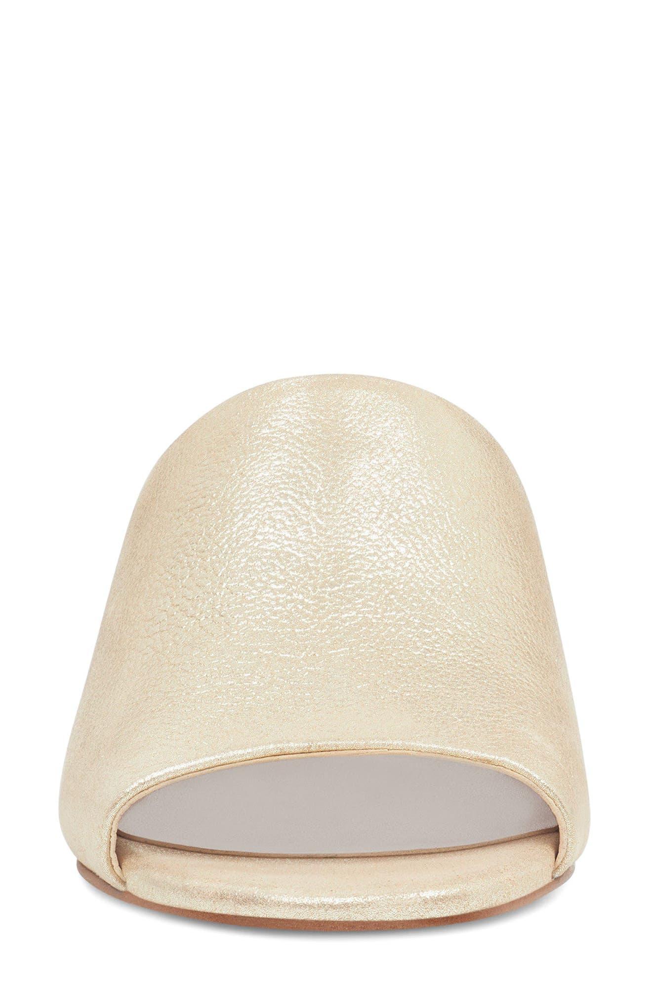 Raissa Slide Sandal,                             Alternate thumbnail 4, color,                             Light Gold Leather