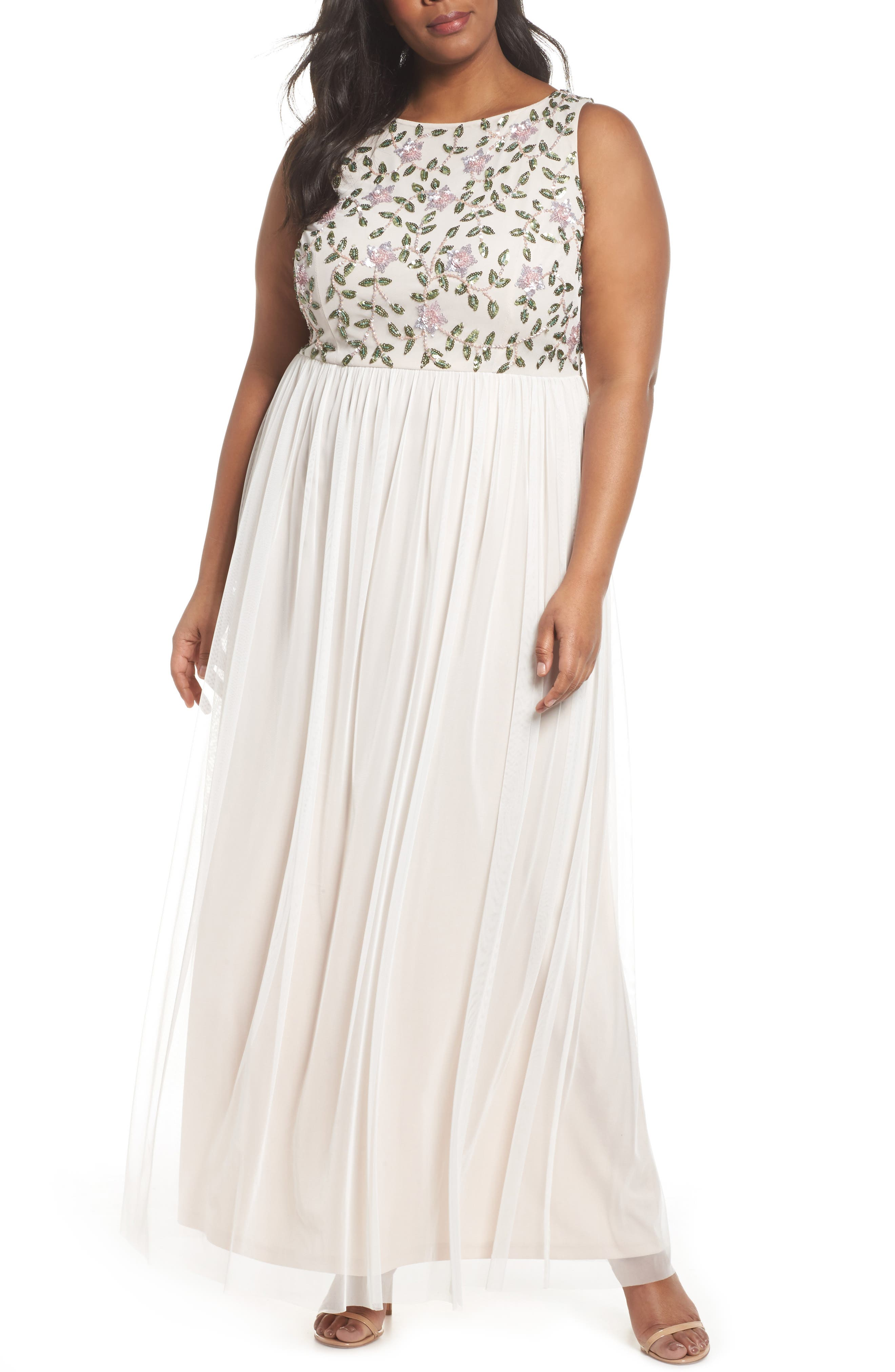 Adrianna Papell Floral Sequin Bodice Gown (Plus Size)