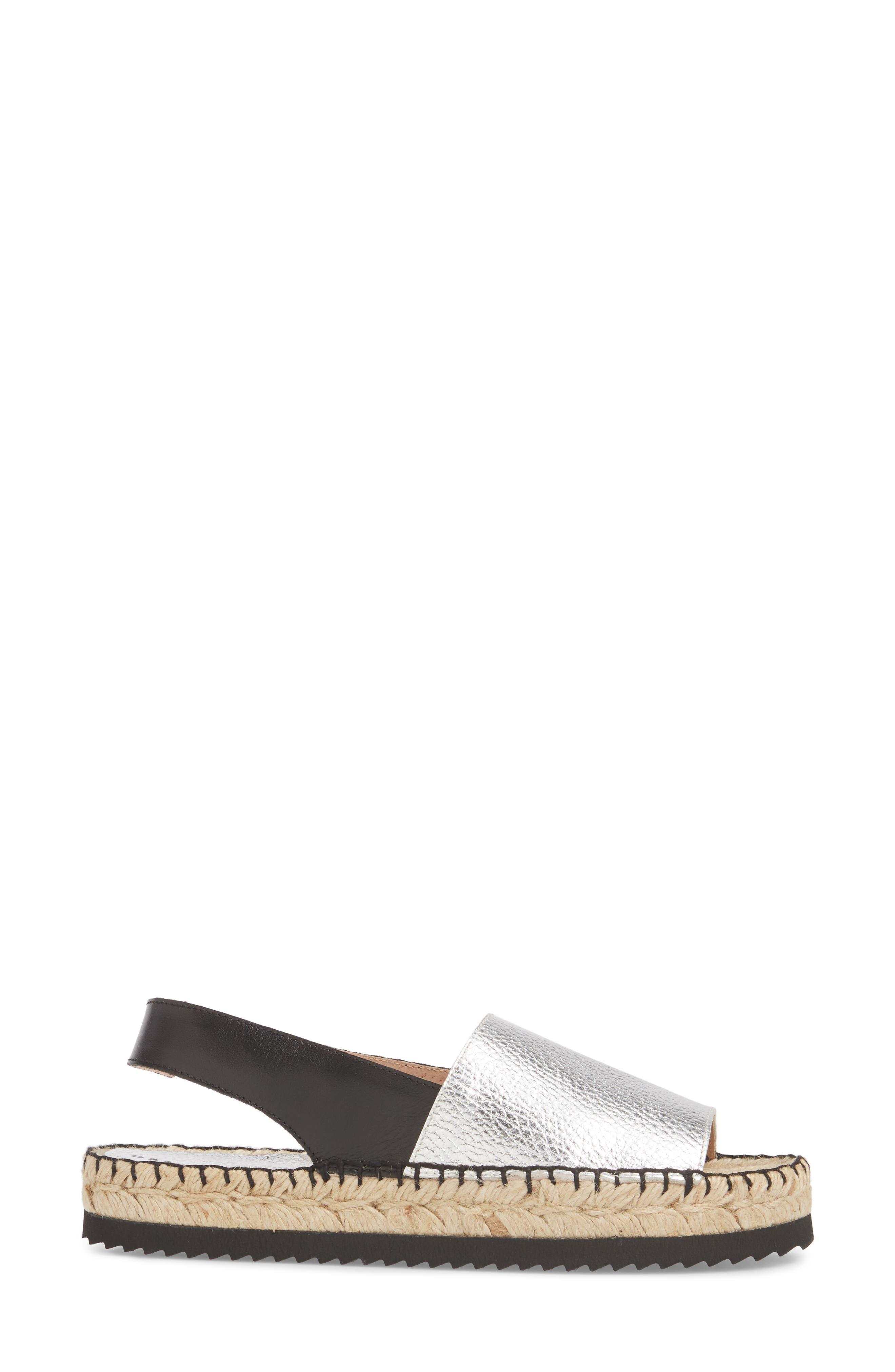 Soho Platform Espadrille Sandal,                             Alternate thumbnail 3, color,                             Silver Suede