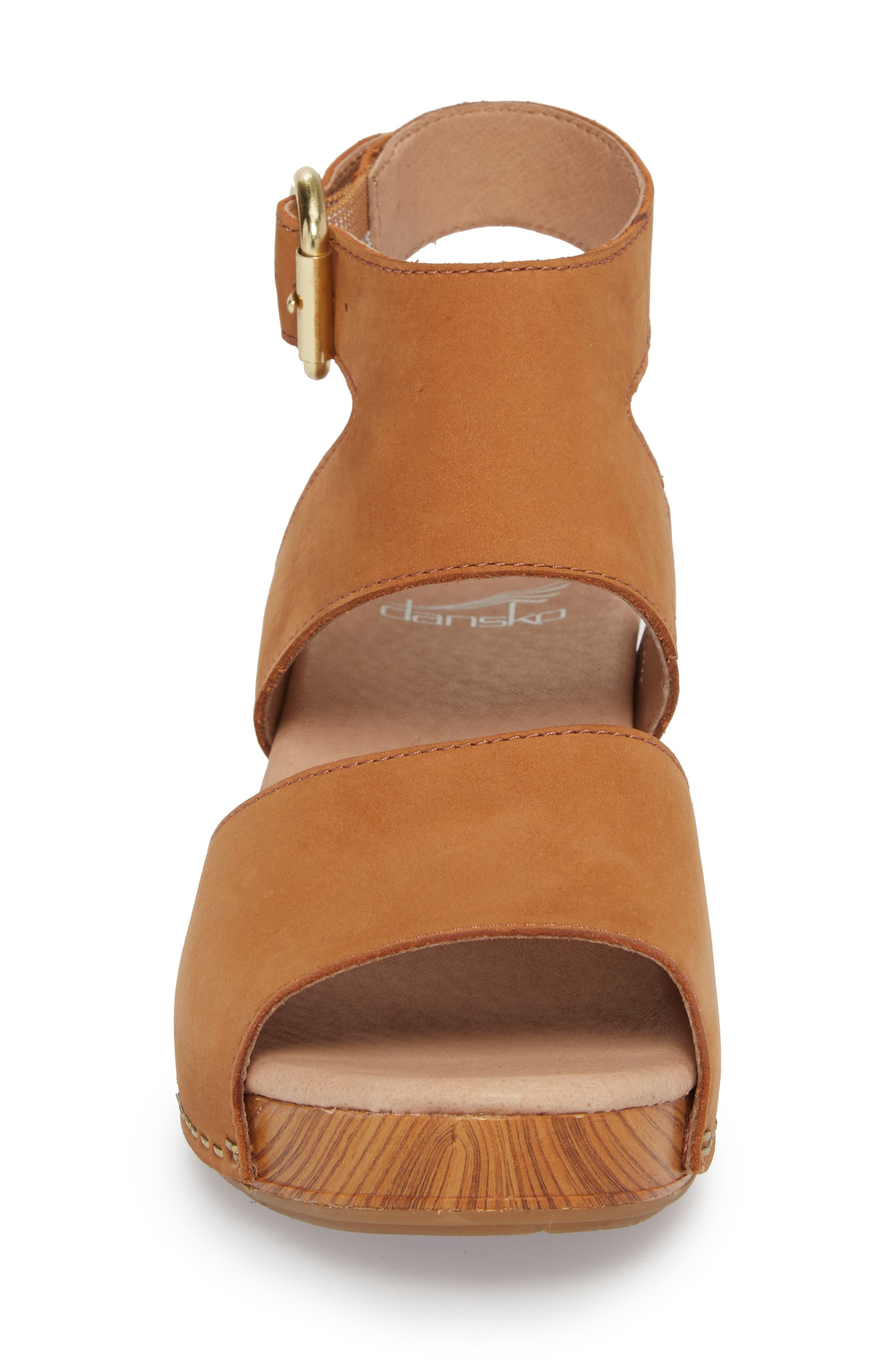 Minka Sandal,                             Alternate thumbnail 4, color,                             Camel Milled Nubuck Leather