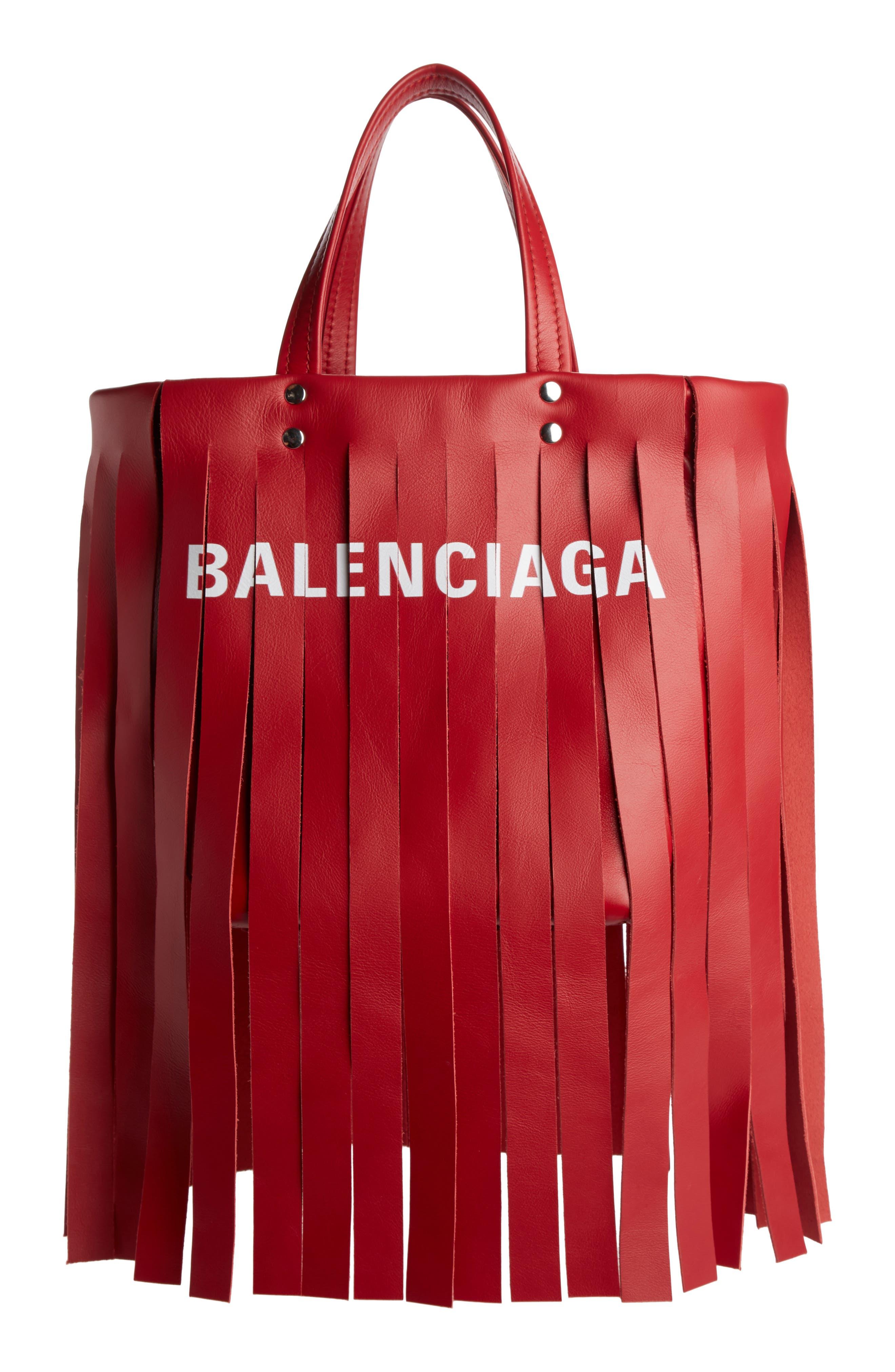 Main Image - Balenciaga Extra Small Laundry Logo Fringe Calfskin Tote