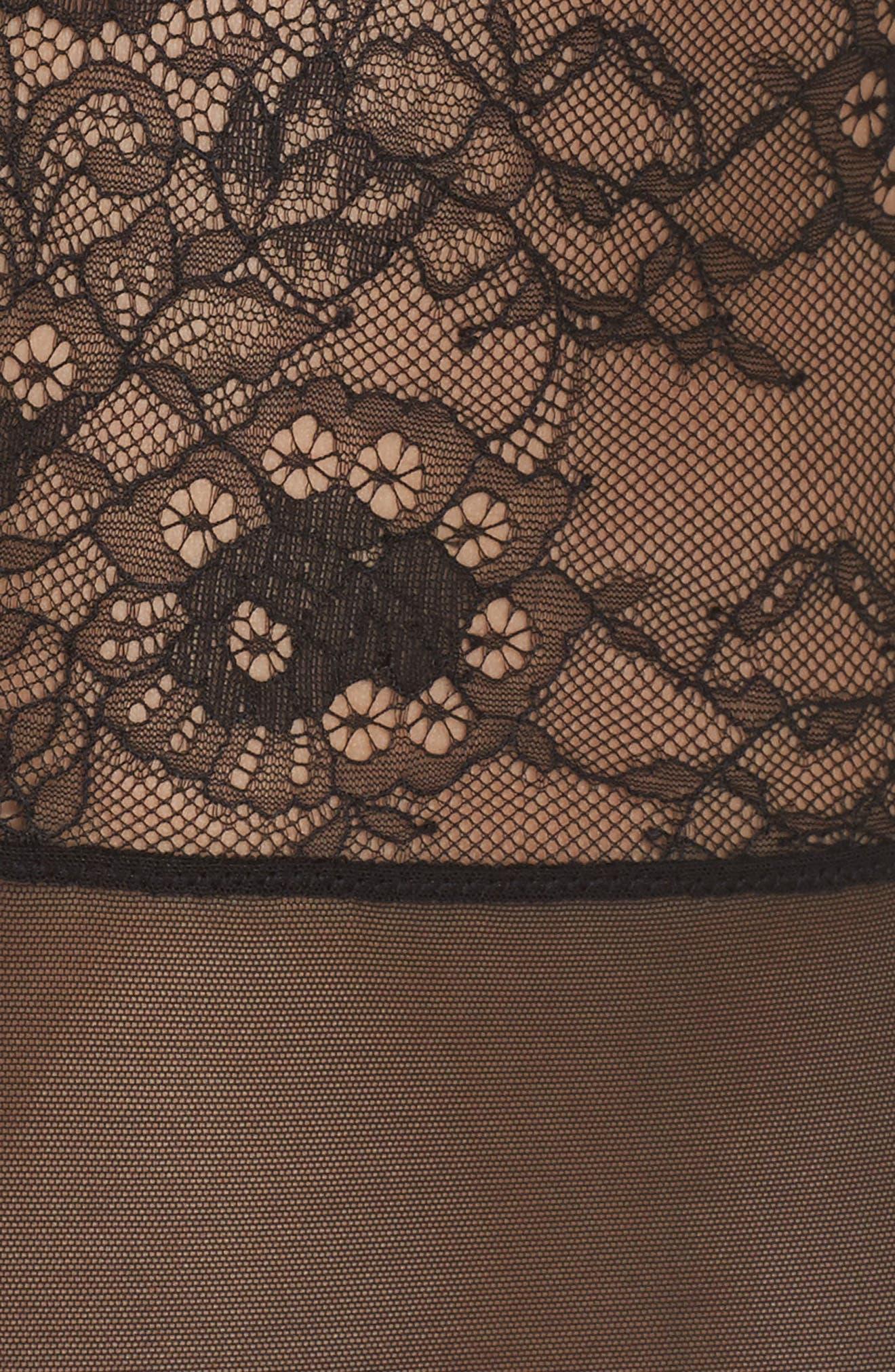 Dossa Lace & Mesh Bodysuit,                             Alternate thumbnail 6, color,                             Black
