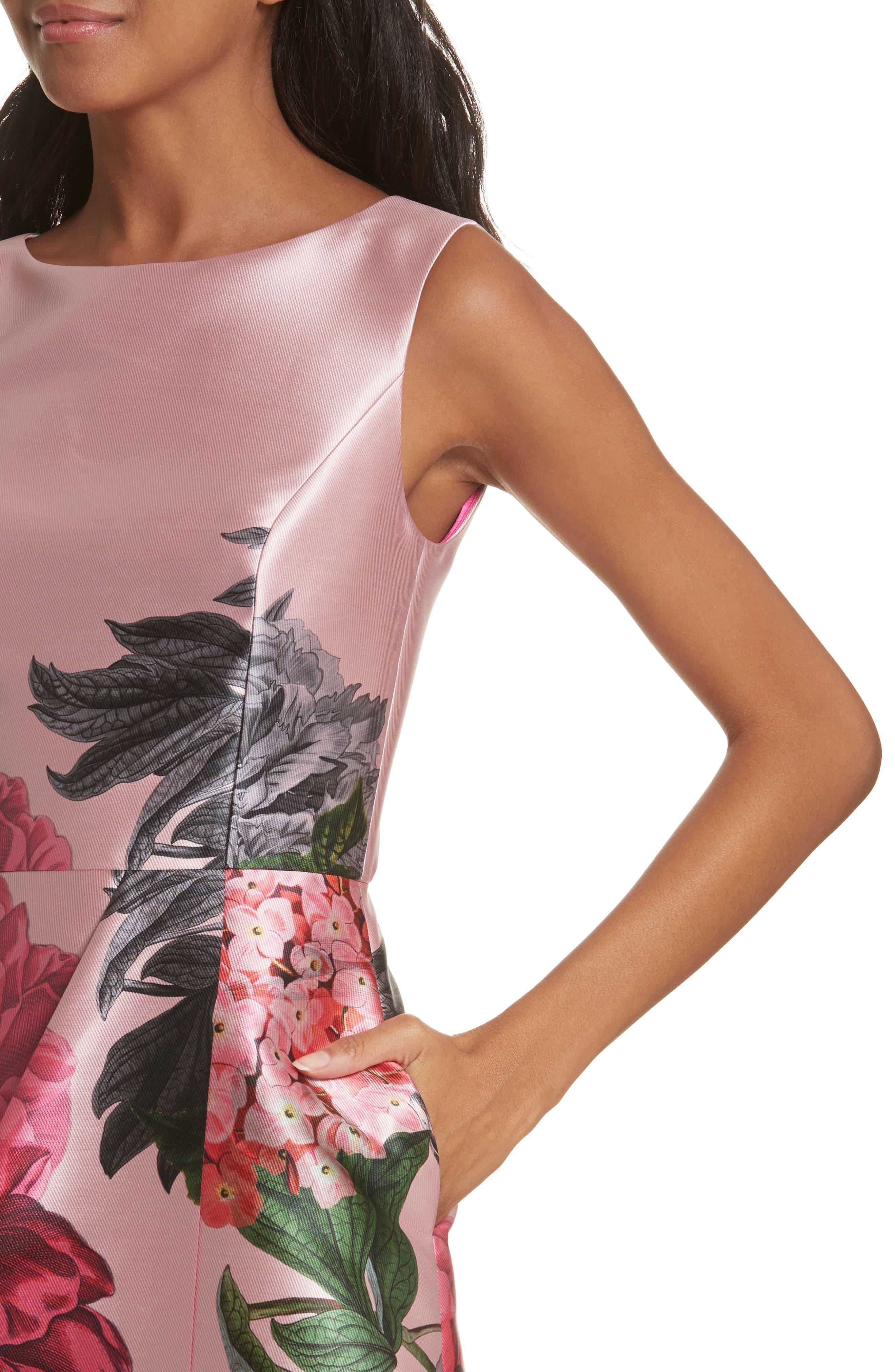 Palace Garden Faux Wrap Dress,                             Alternate thumbnail 4, color,                             Grey