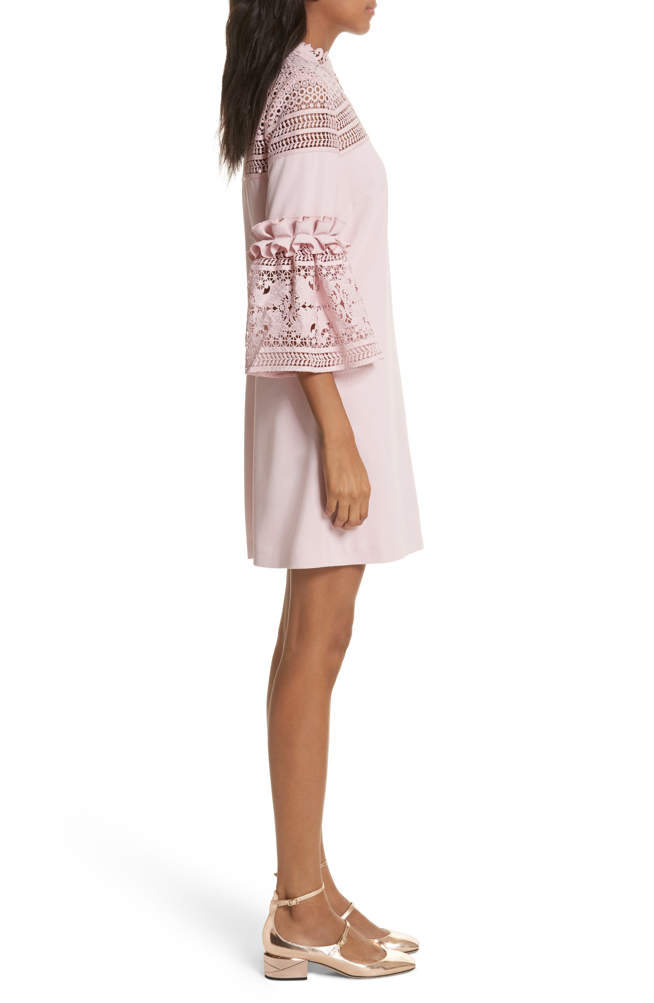 Lace Panel Bell Sleeve Tunic Dress,                             Alternate thumbnail 3, color,                             Dusky Pink
