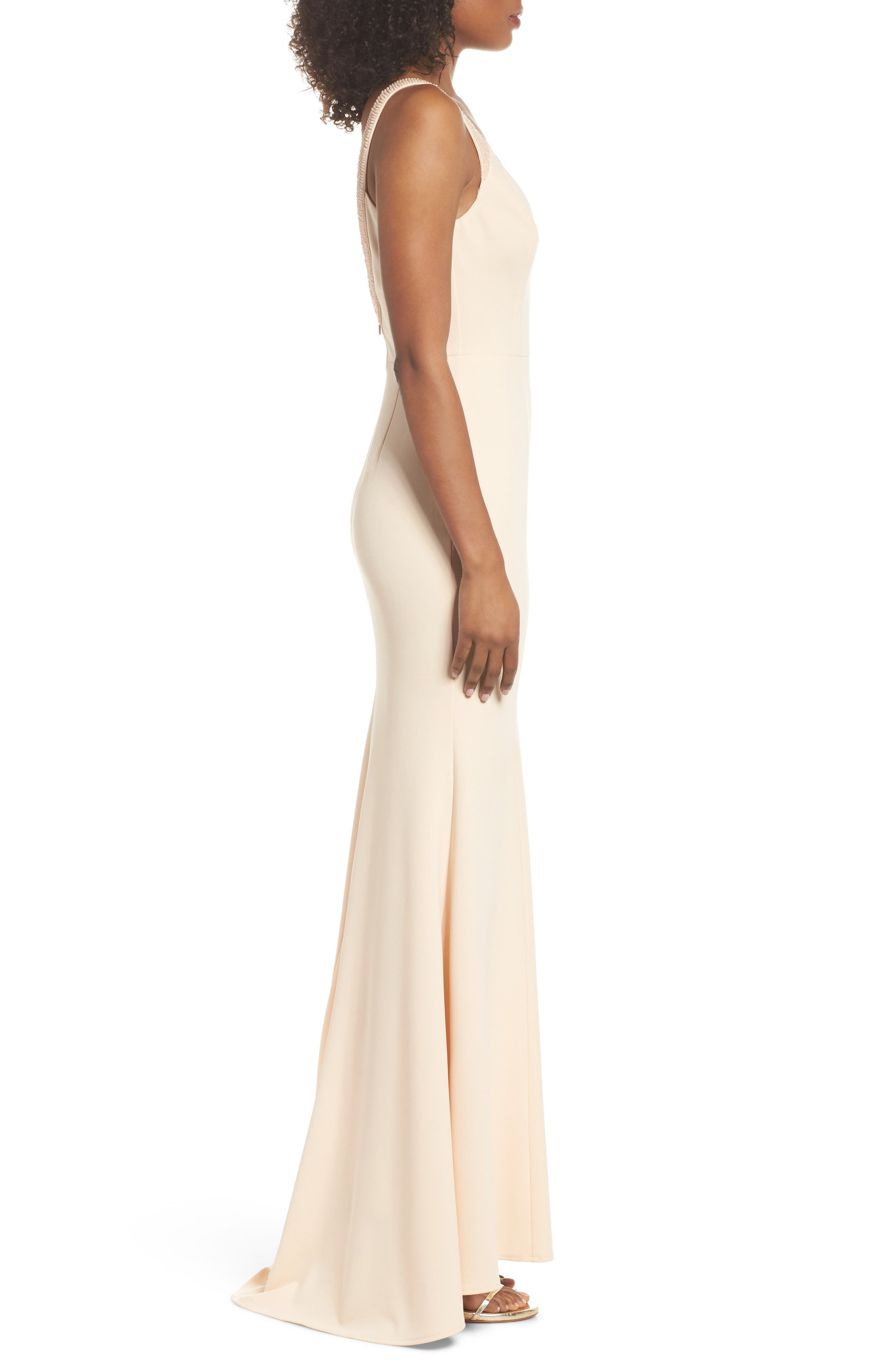Embellished Strap Trumpet Gown,                             Alternate thumbnail 3, color,                             Blush
