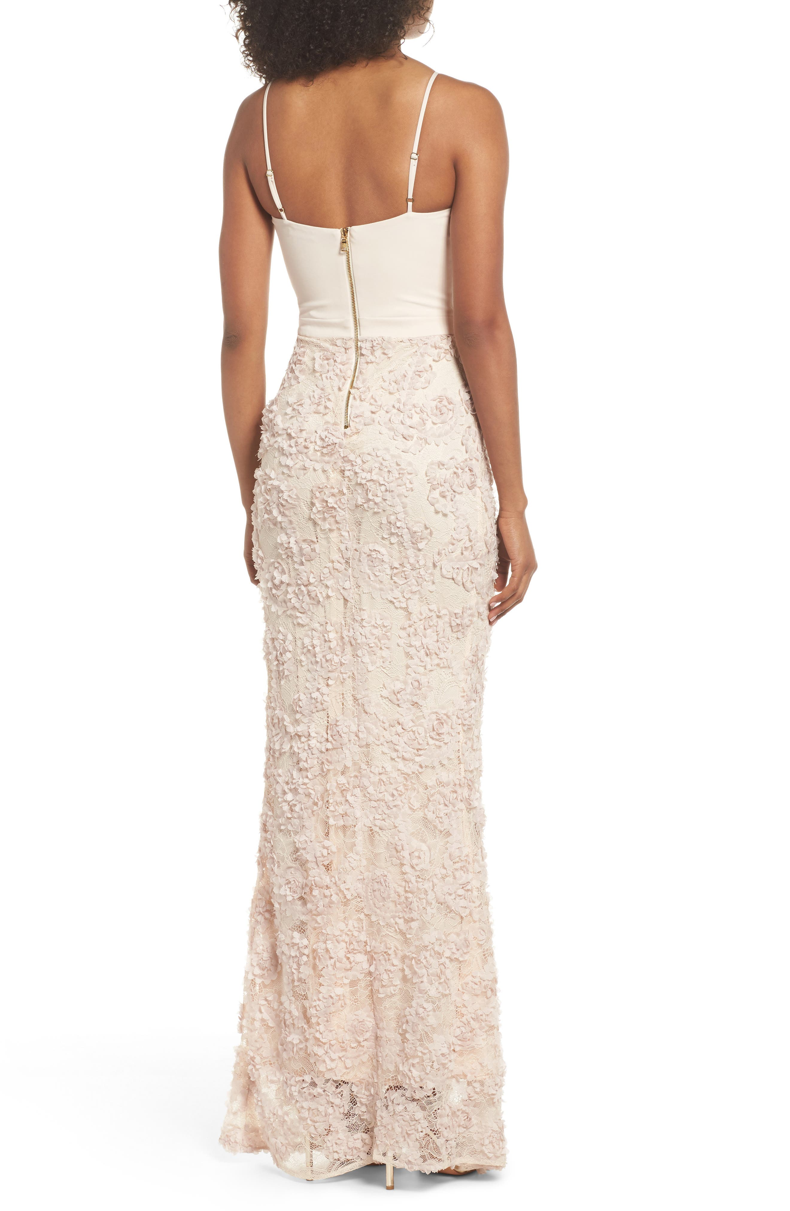 Jessie Strappy Lace Sheath Gown,                             Alternate thumbnail 2, color,                             Champagne