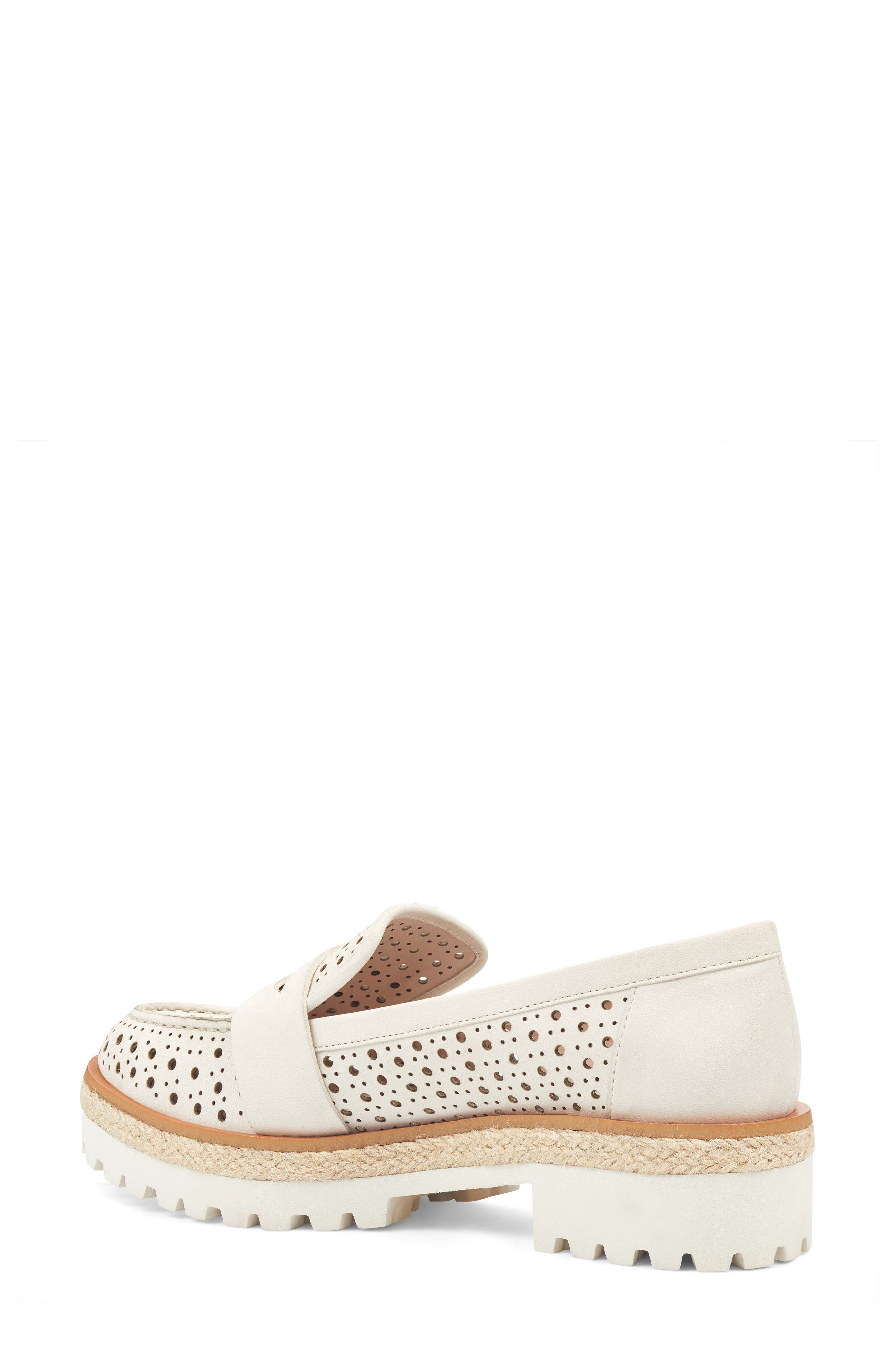 Gradskool Perforated Penny Loafer,                             Alternate thumbnail 2, color,                             Off White Leather