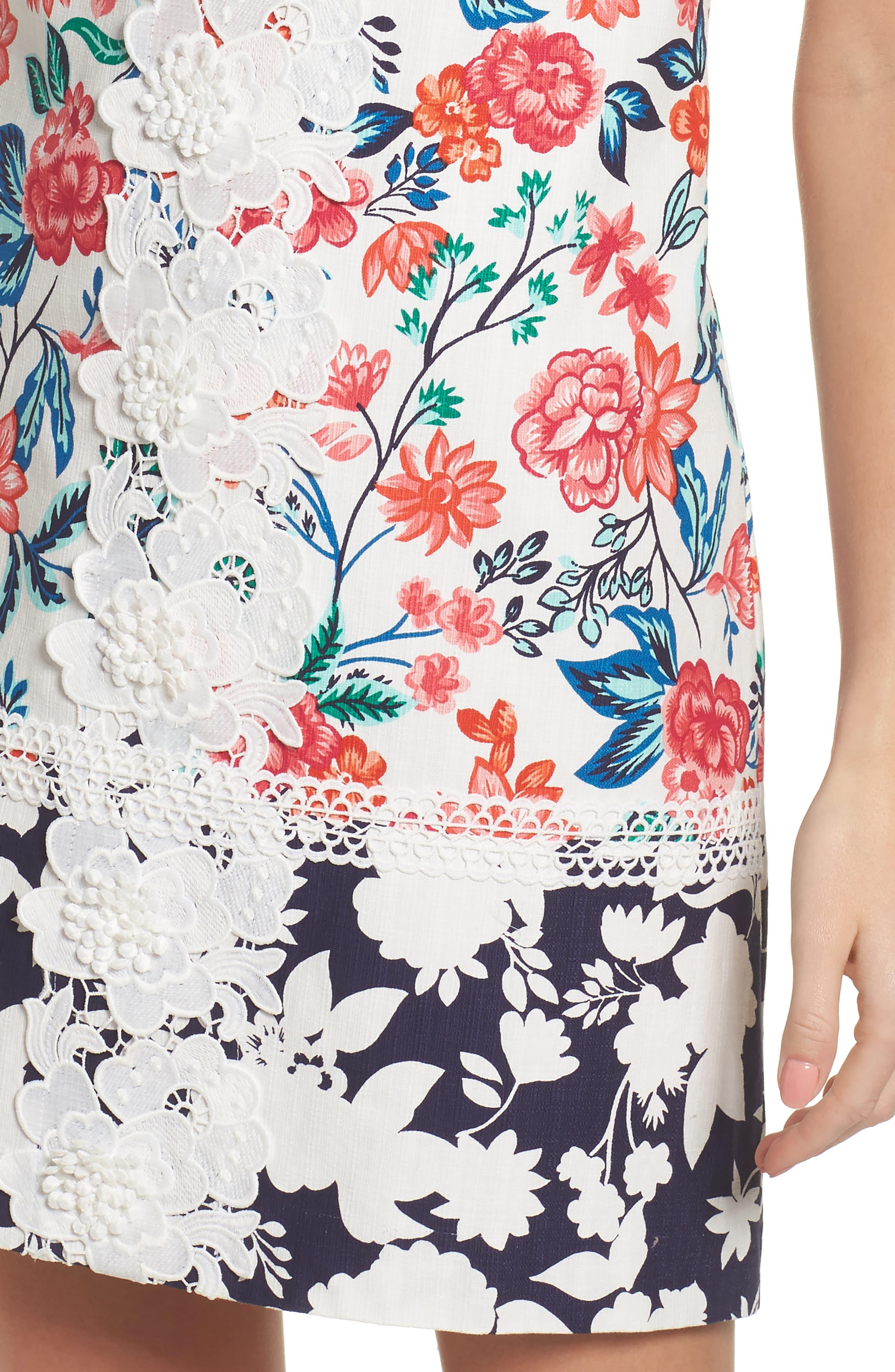 Floral Print Shift Dress,                             Alternate thumbnail 4, color,                             White