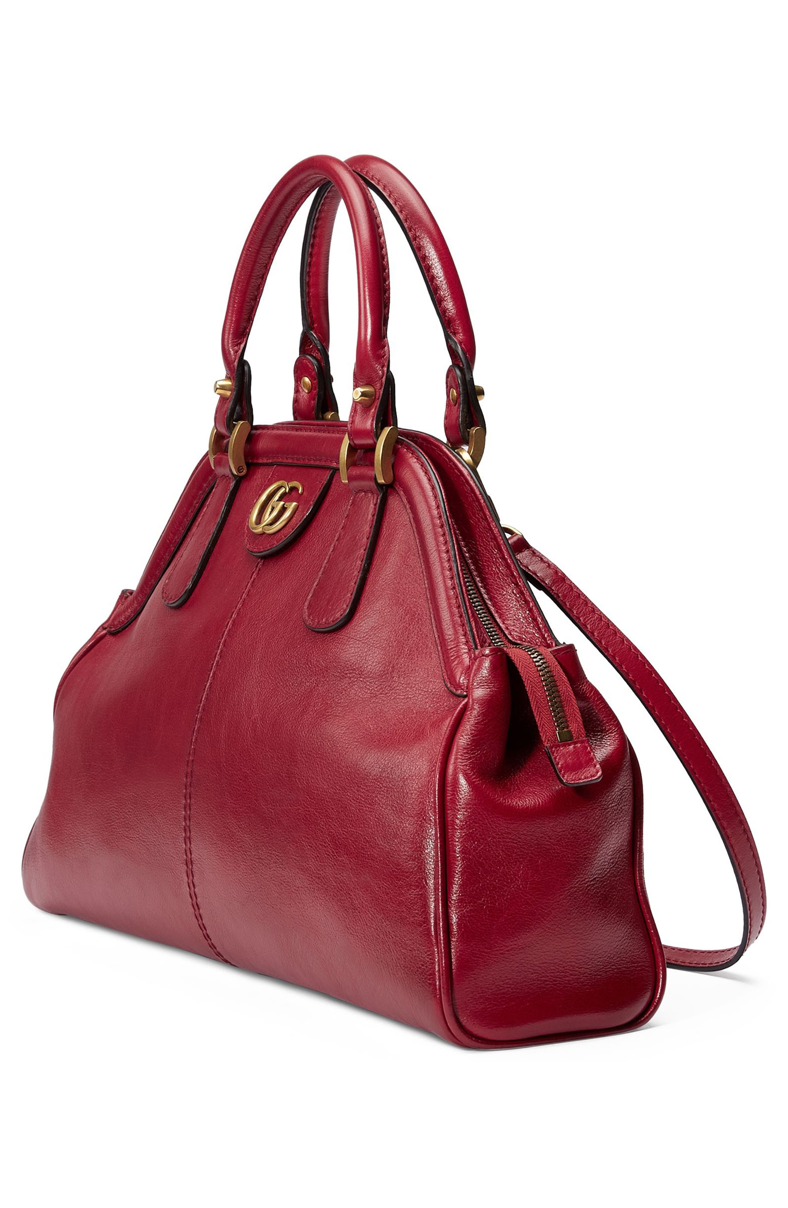 Medium RE(BELLE) Leather Satchel,                             Alternate thumbnail 4, color,                             Romantic Cerise