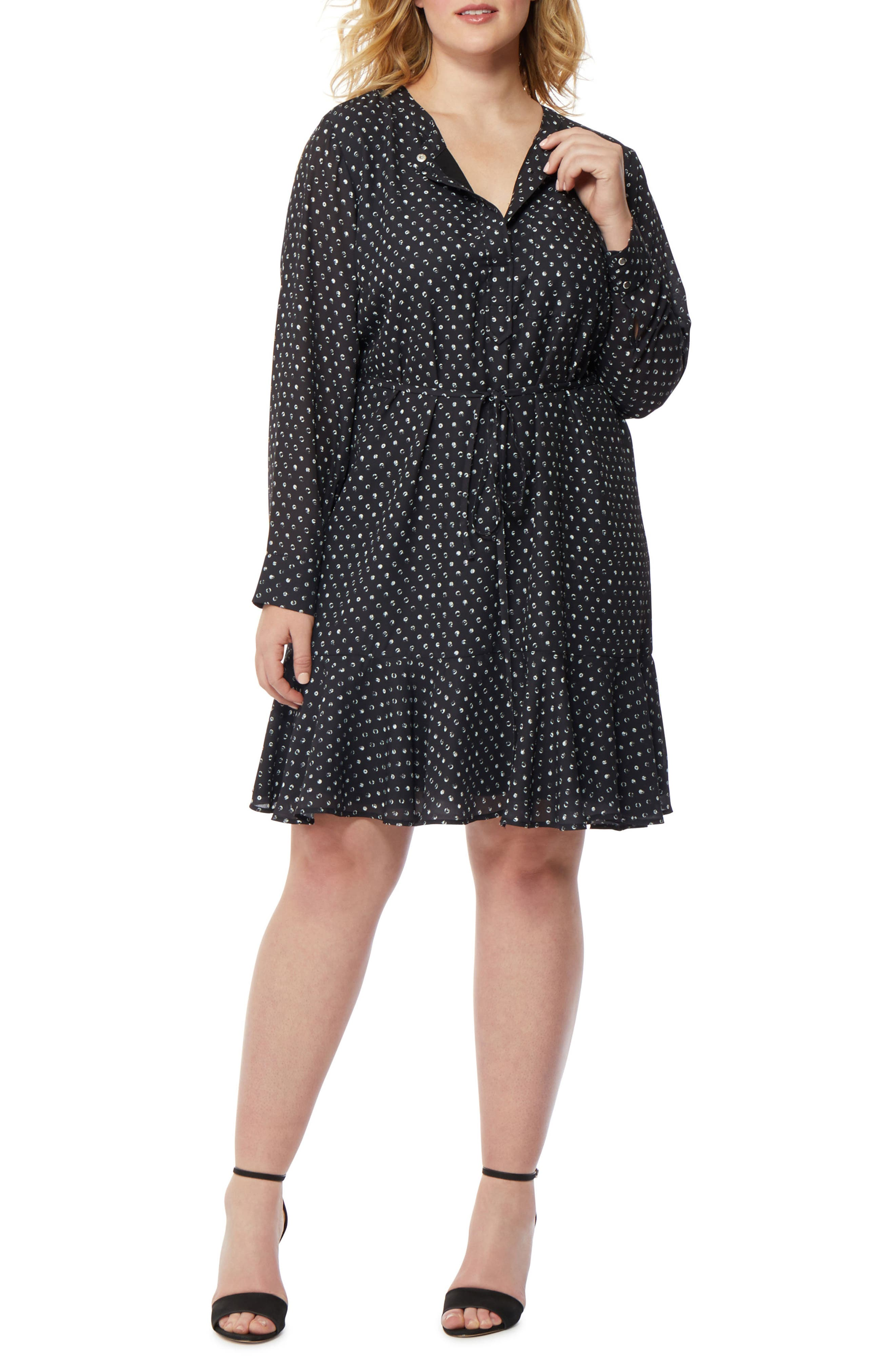 Printed Ruffle Hem Dress,                         Main,                         color, Mini Polka Dot