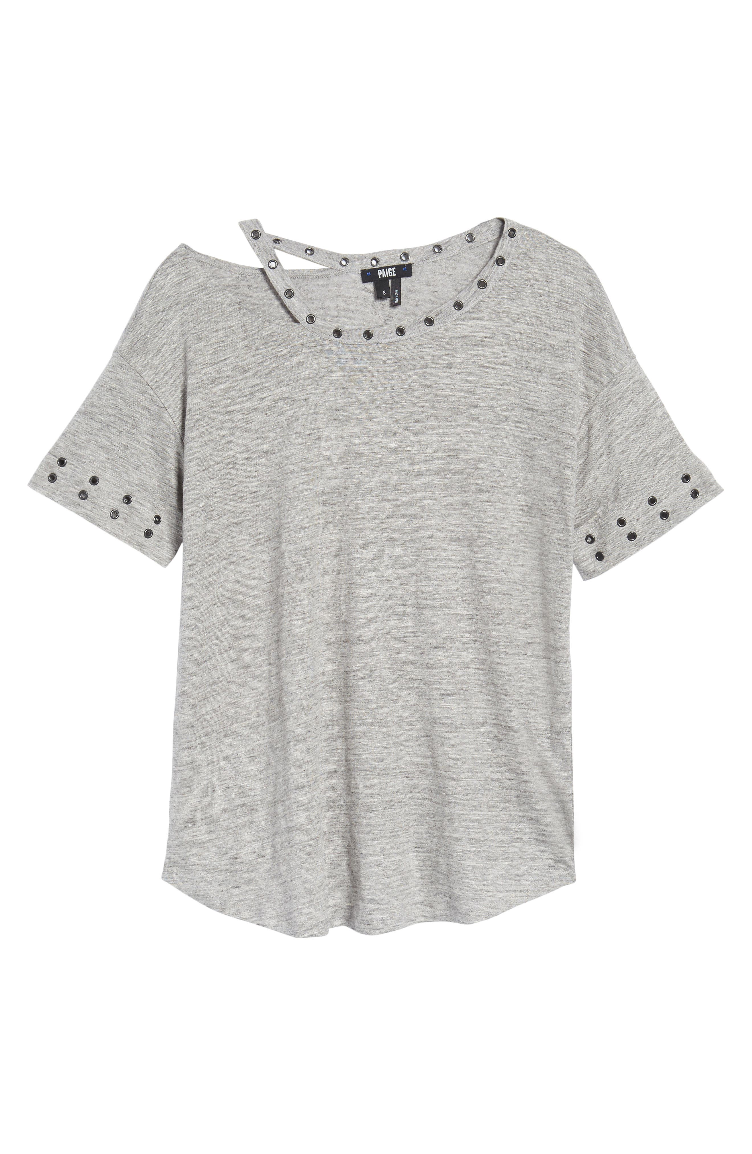 Shanni Grommet Tee,                             Alternate thumbnail 6, color,                             Heather Grey