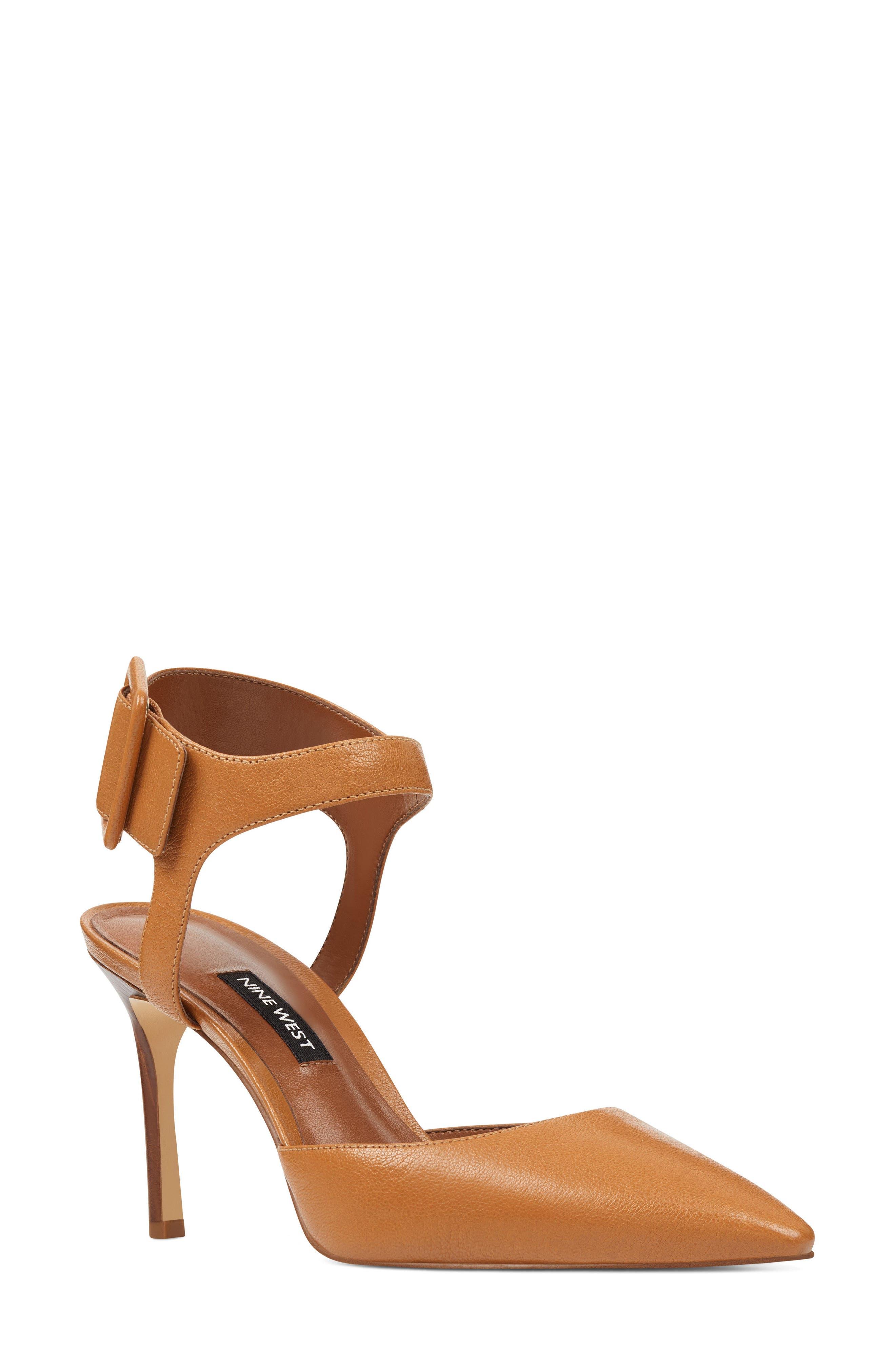 Elisabeti Ankle Cuff Pump,                         Main,                         color, Dark Natural Leather