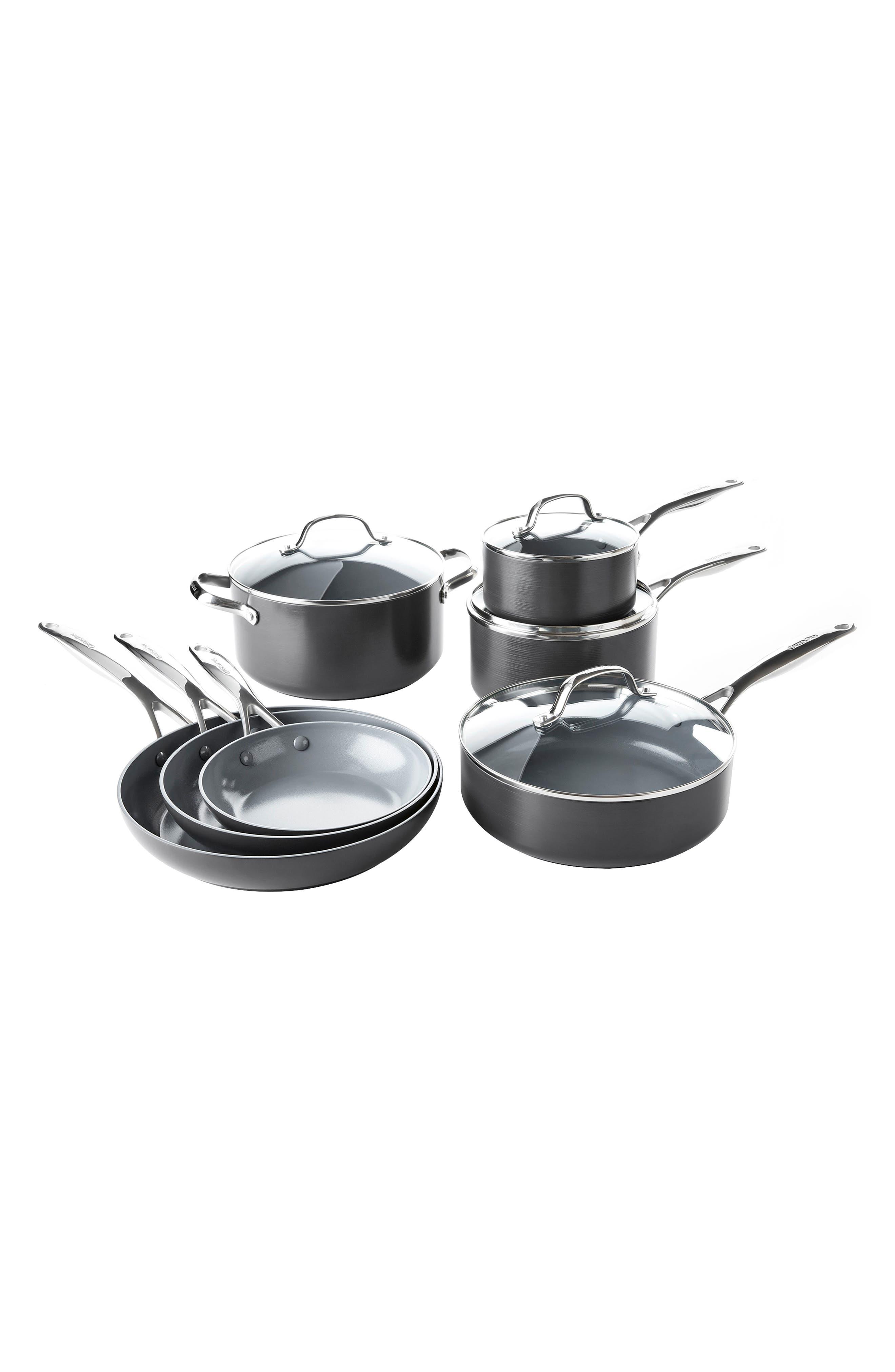 Valencia Pro 11-Piece Anodized Aluminum Ceramic Nonstick Cookware Set,                         Main,                         color, Black