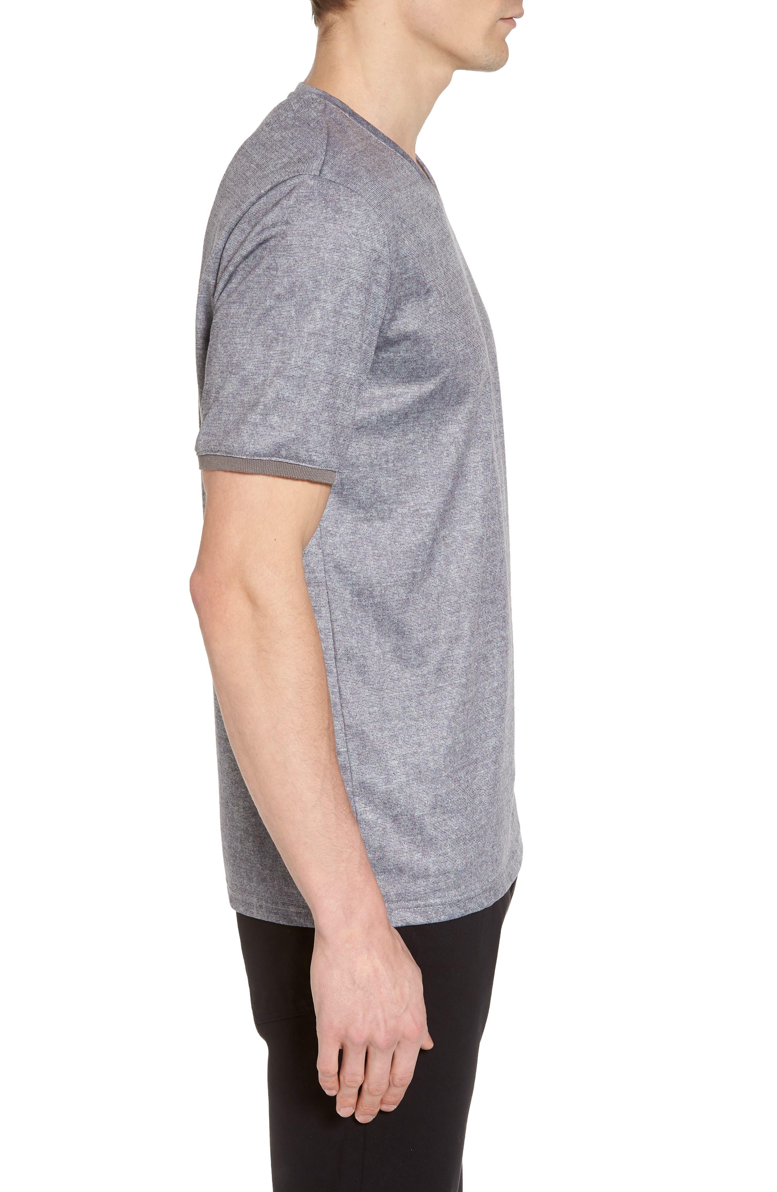 Slim Fit V-Neck T-Shirt,                             Alternate thumbnail 3, color,                             Grey Solid
