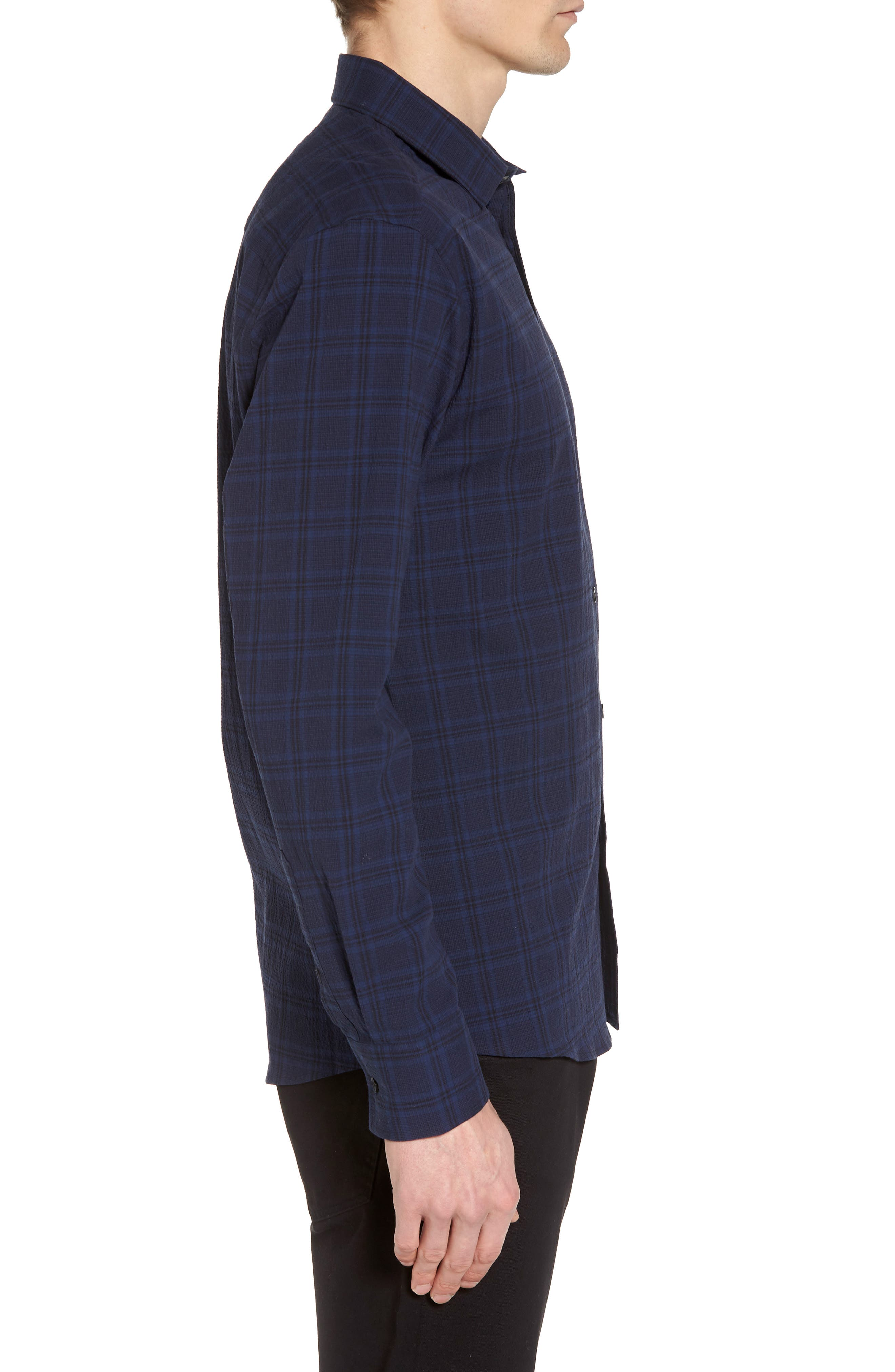 Slim Fit Plaid Stretch Sport Shirt,                             Alternate thumbnail 3, color,                             Navy Seersucker Plaid