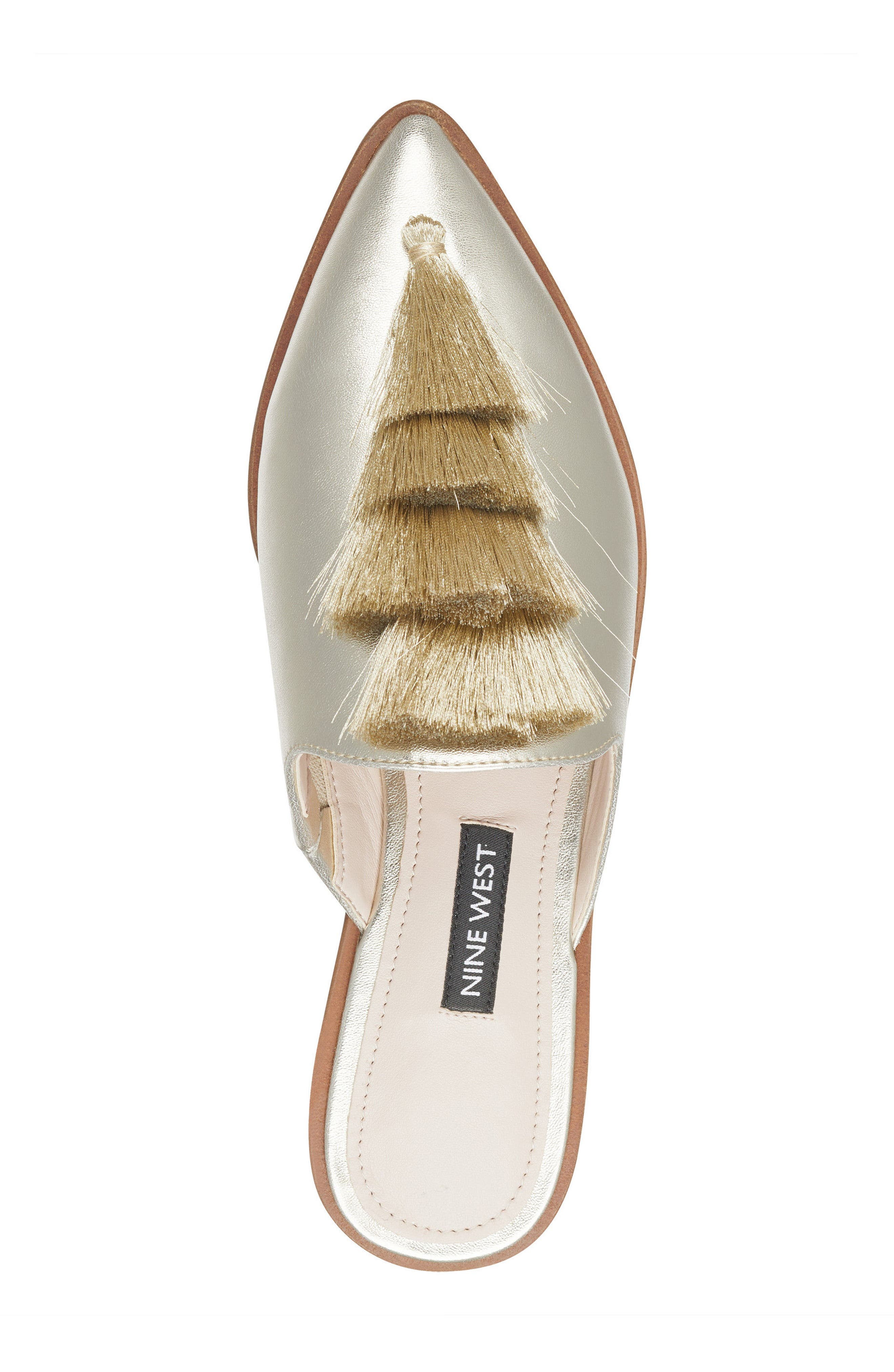 Ollial Fringed Loafer Mule,                             Alternate thumbnail 5, color,                             Light Gold Leather