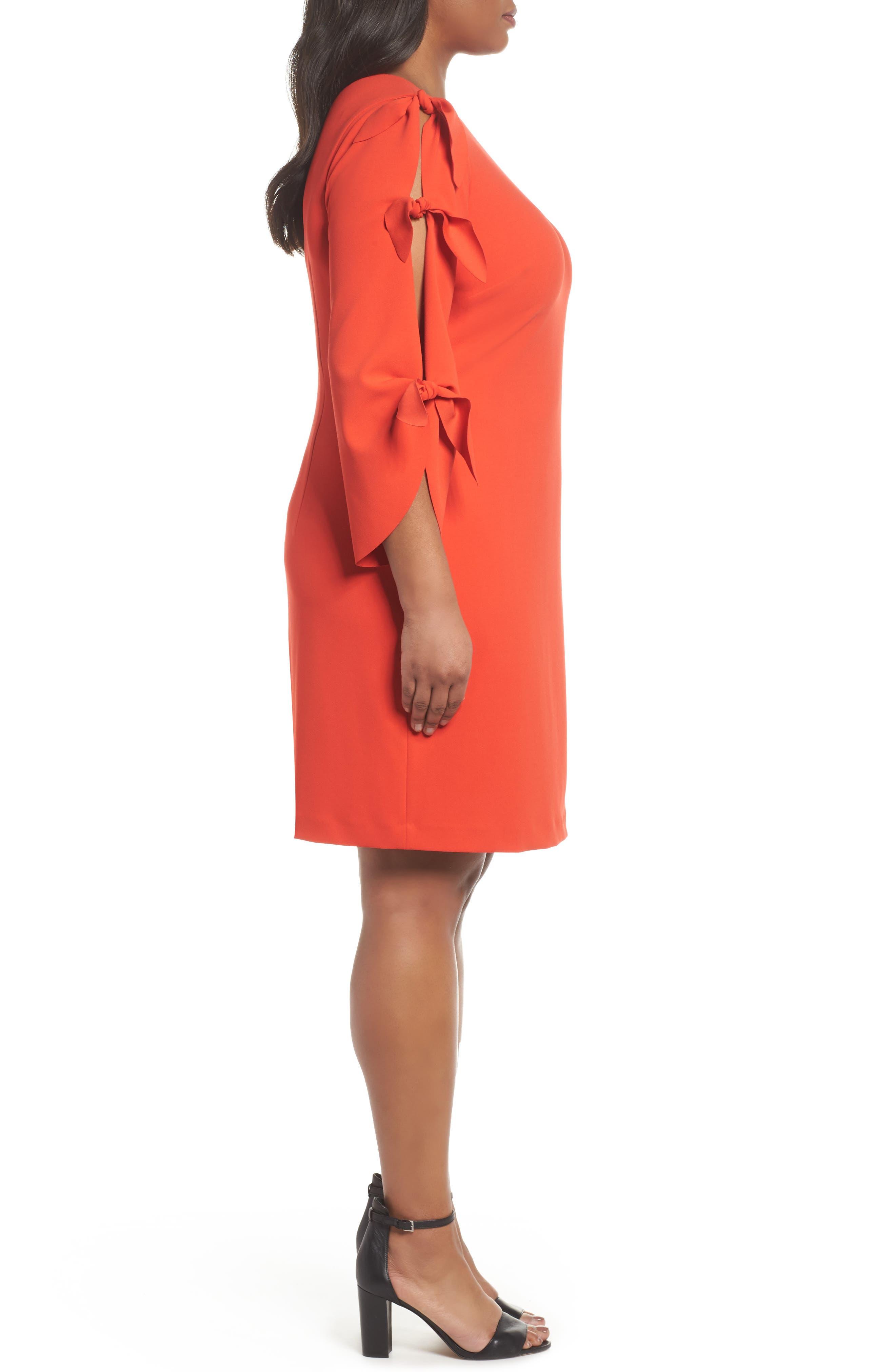 Tie Bell Sleeve Ponte Shift Dress,                             Alternate thumbnail 3, color,                             Geranium