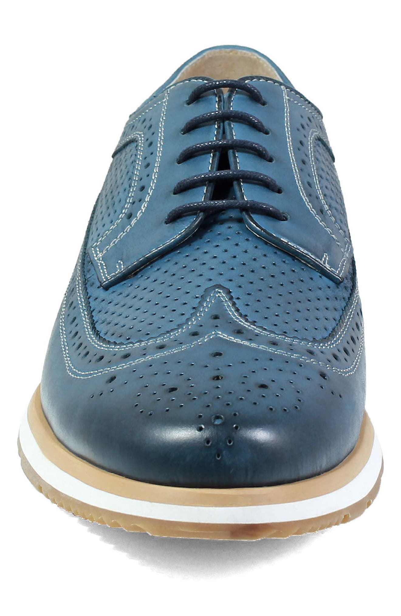 Limited Flux Perforated Wingtip Derby,                             Alternate thumbnail 4, color,                             Indigo Leather